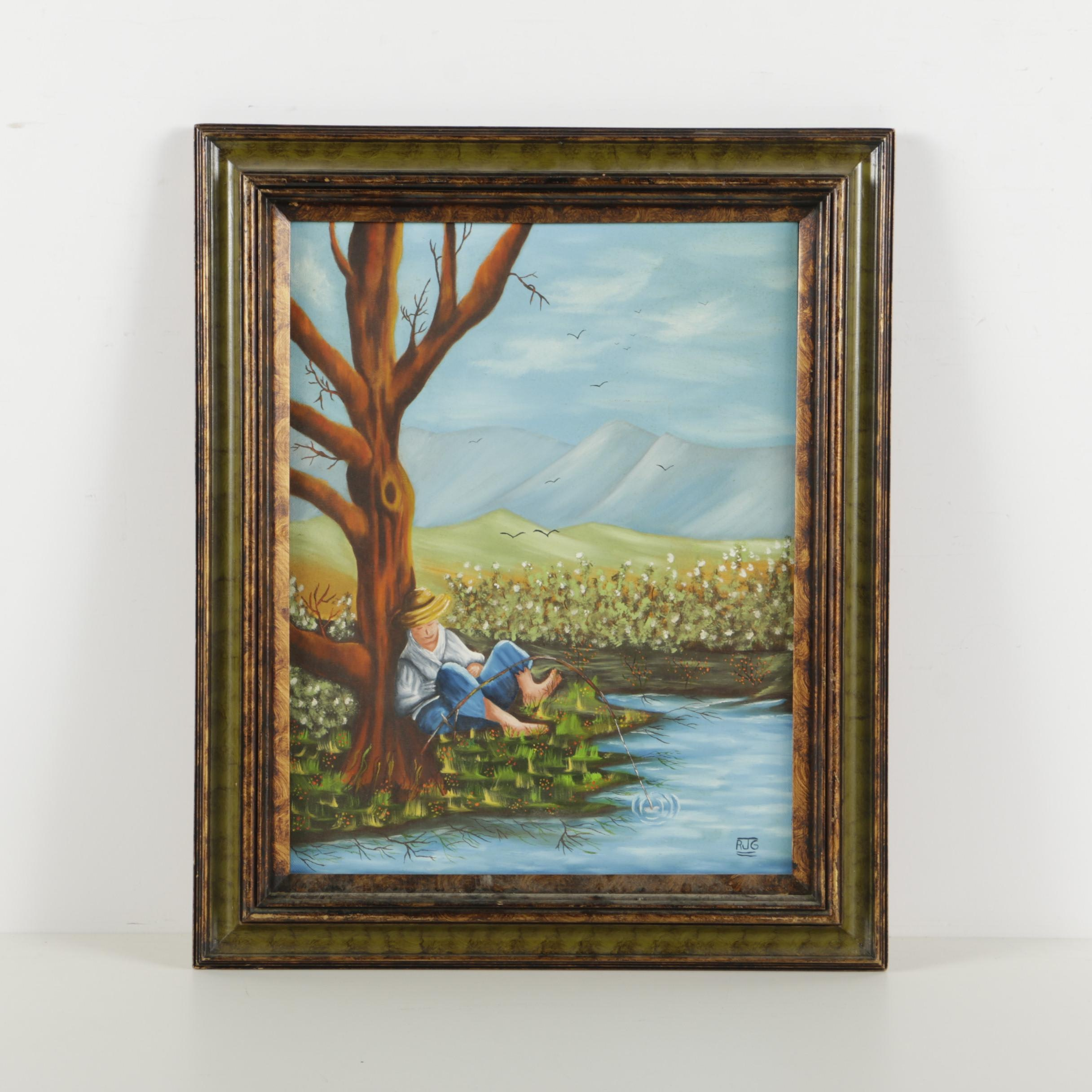 Rodney J. Gottlieb Oil Painting on Canvas of Country Fishing Scene