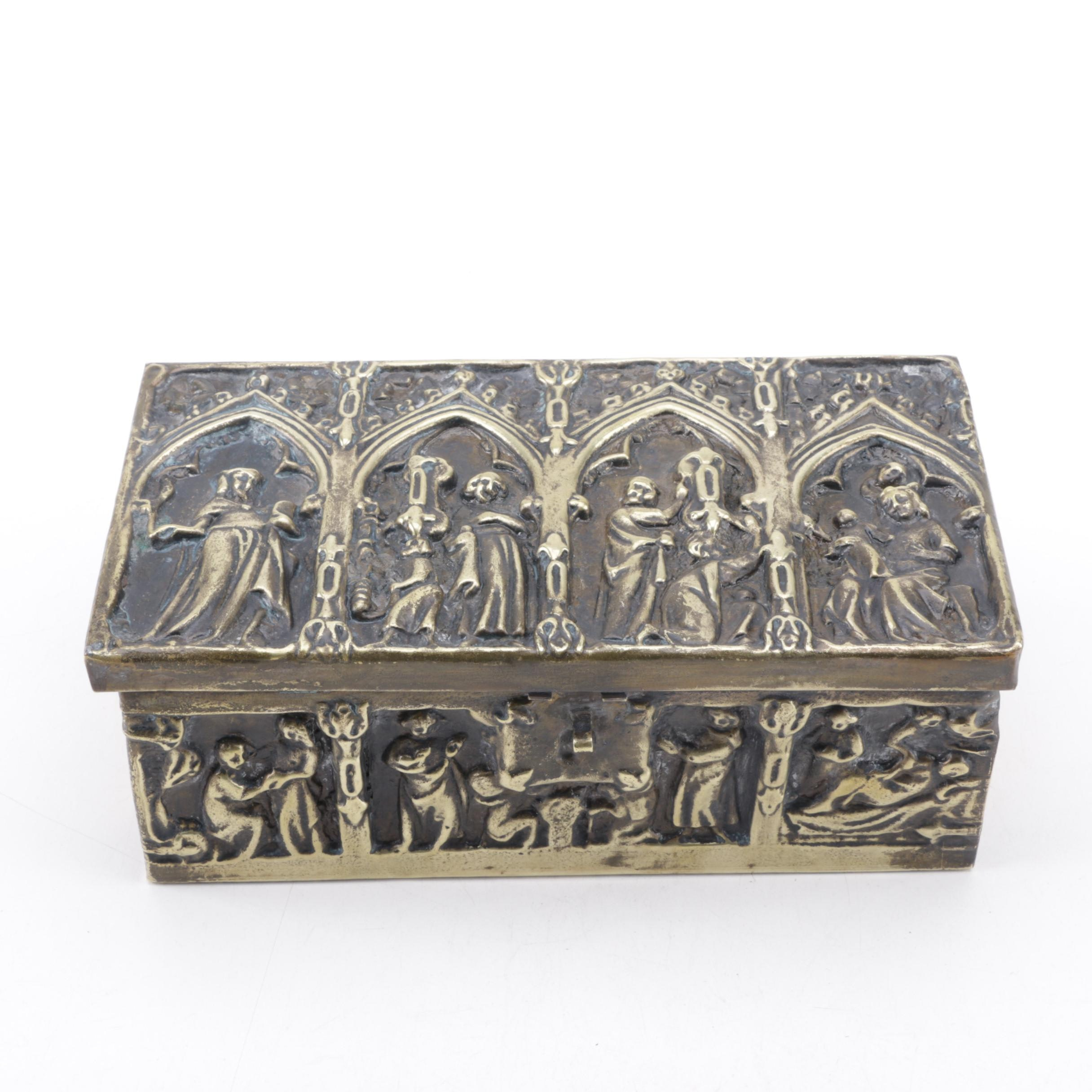 Embossed Figural Brass Box
