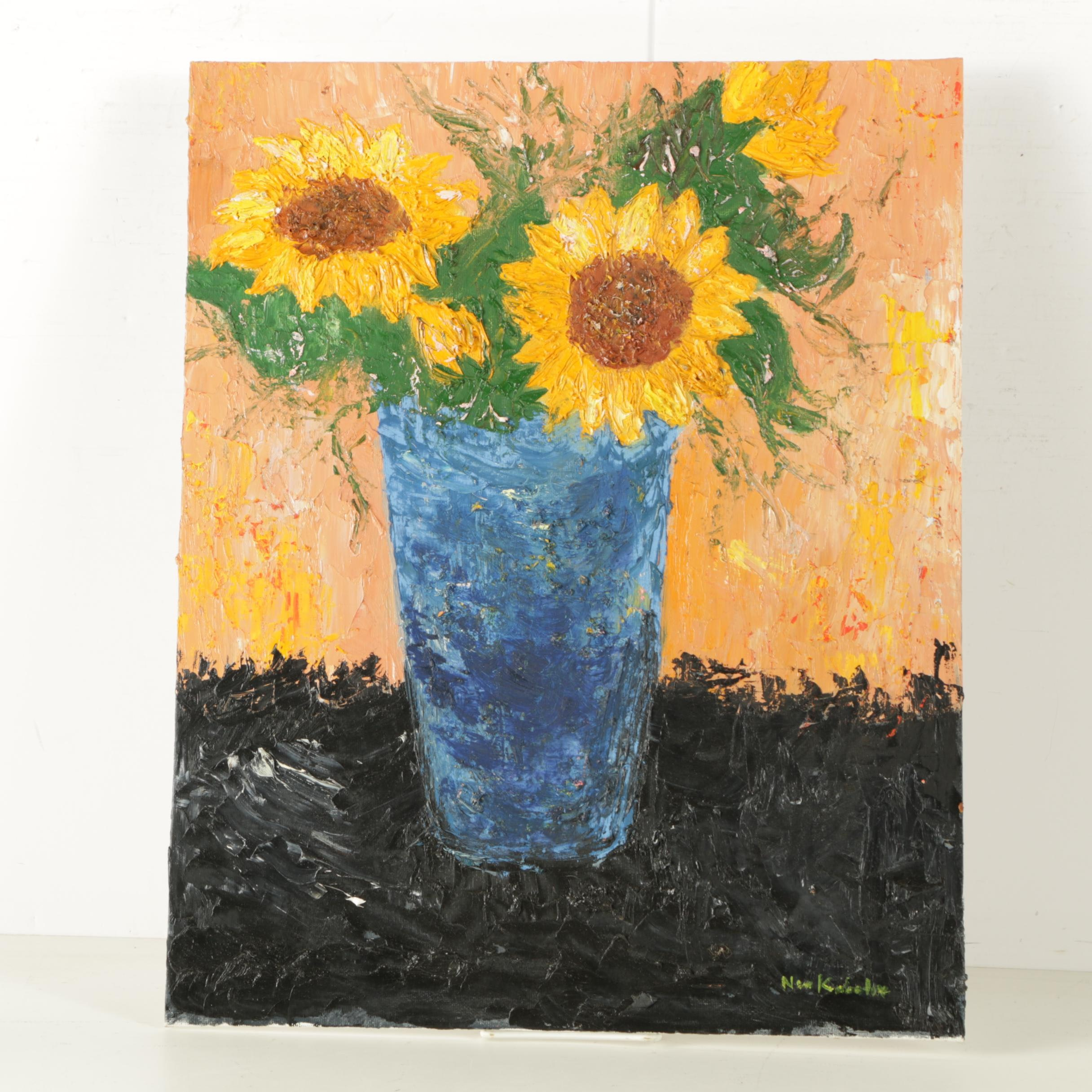 Nora Kaboulov Oil Painting on Canvas Board of Sunflowers