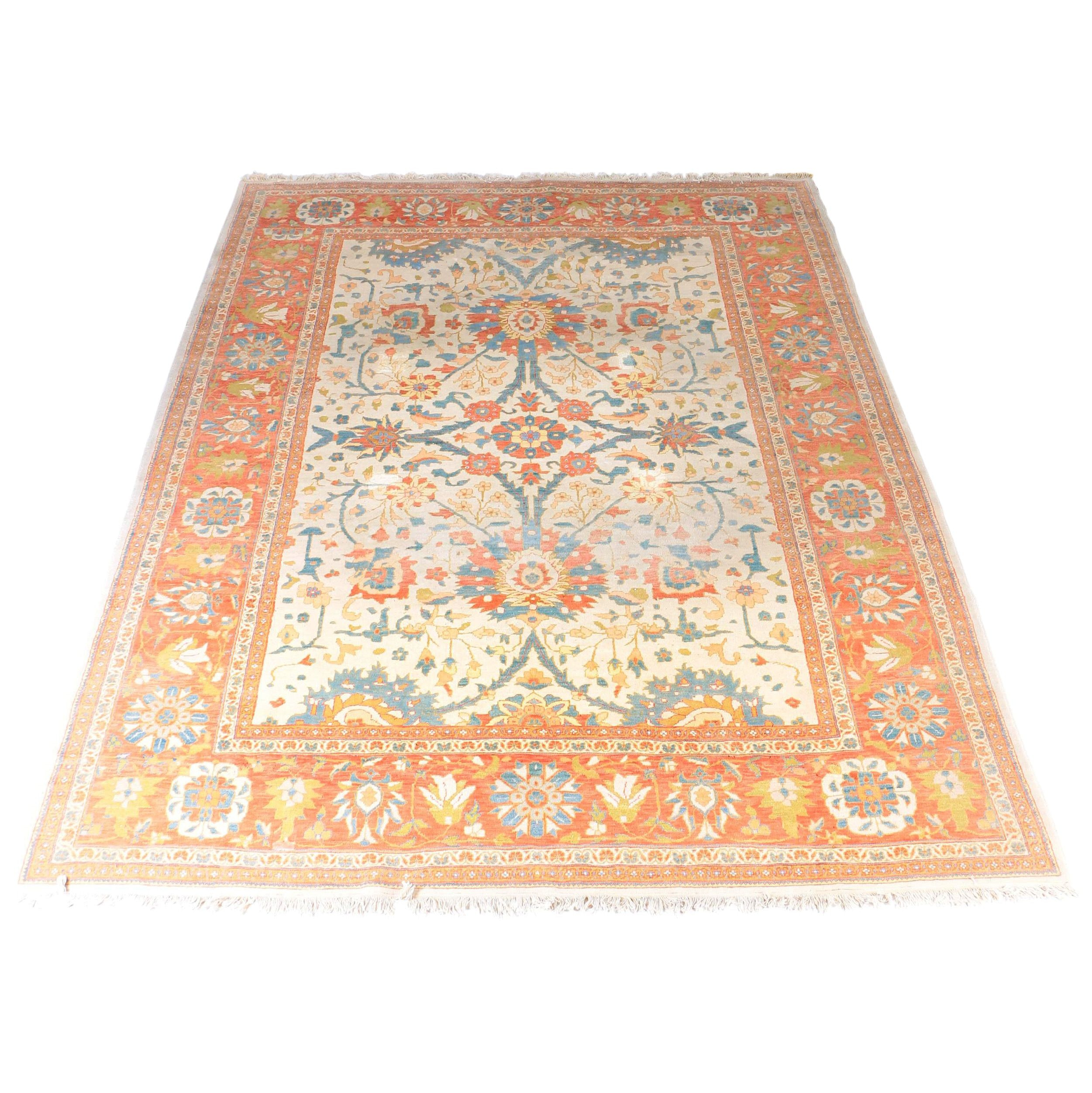 Hand-Knotted Oushak Style Area Rug