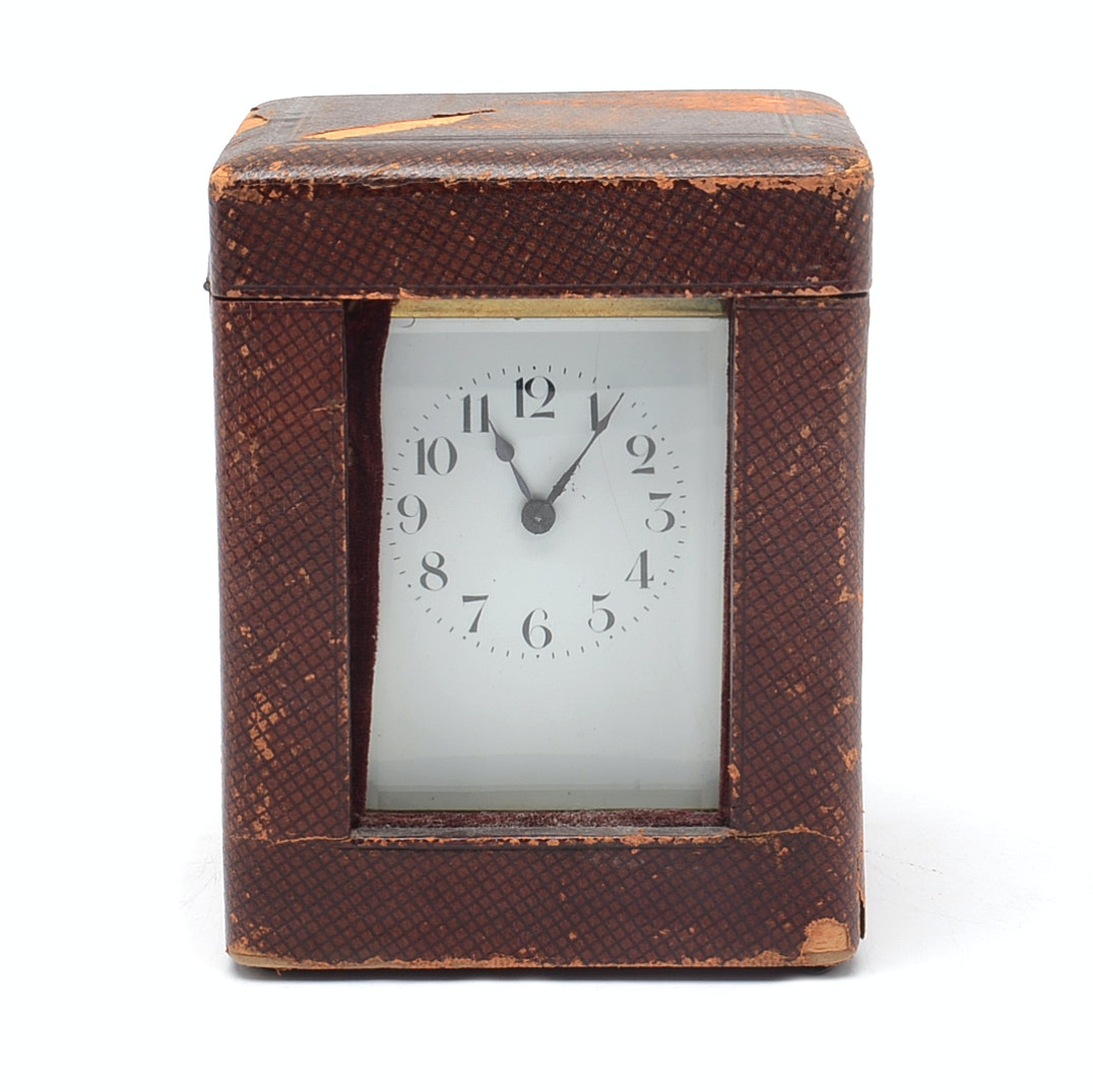 French Brass Carriage Clock with Leather Case