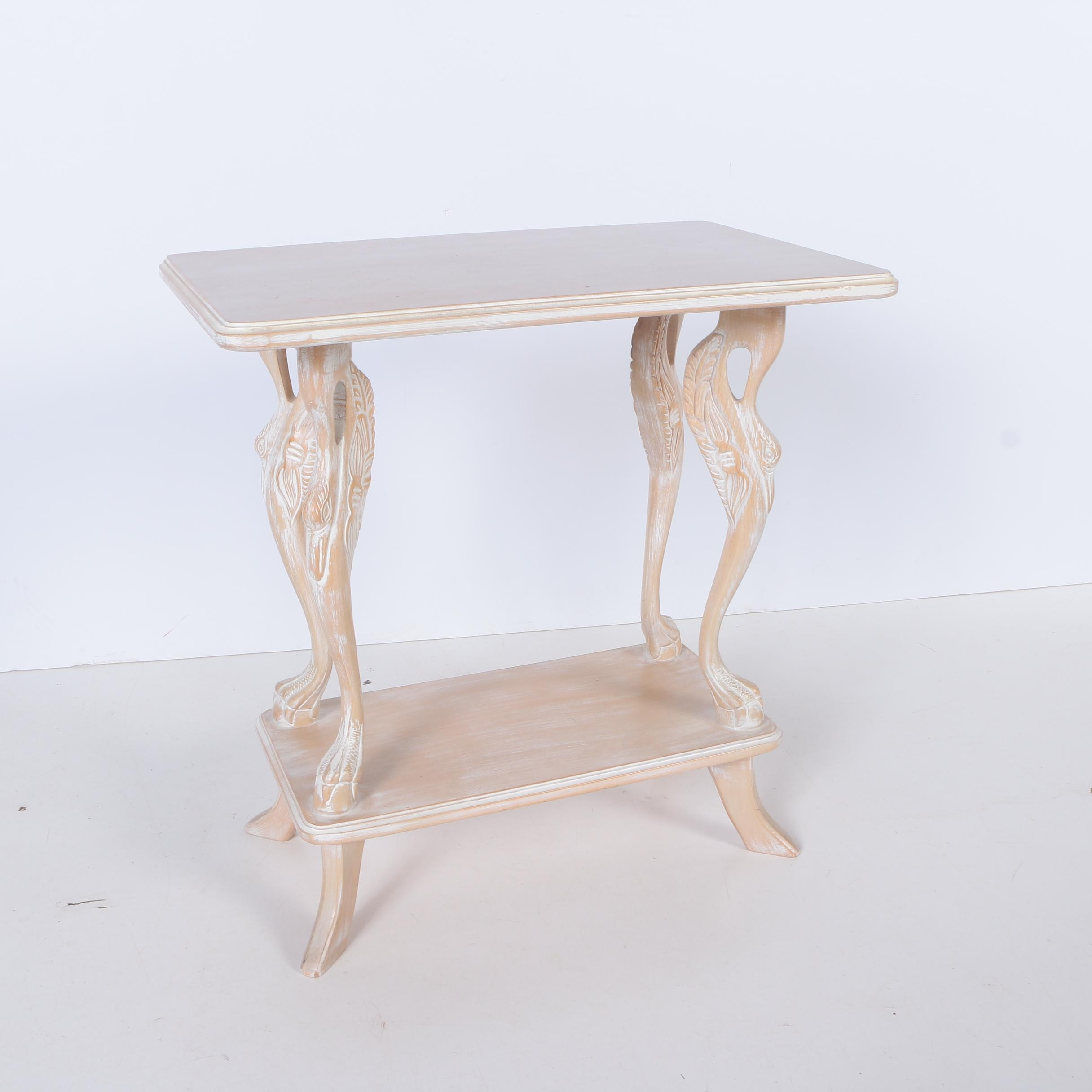Pickled Beech Side Table With Swan Supports