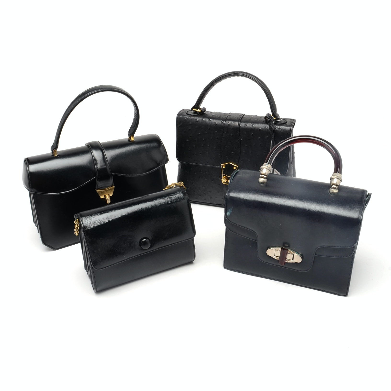 Vintage Assorted Black Satchel Bags