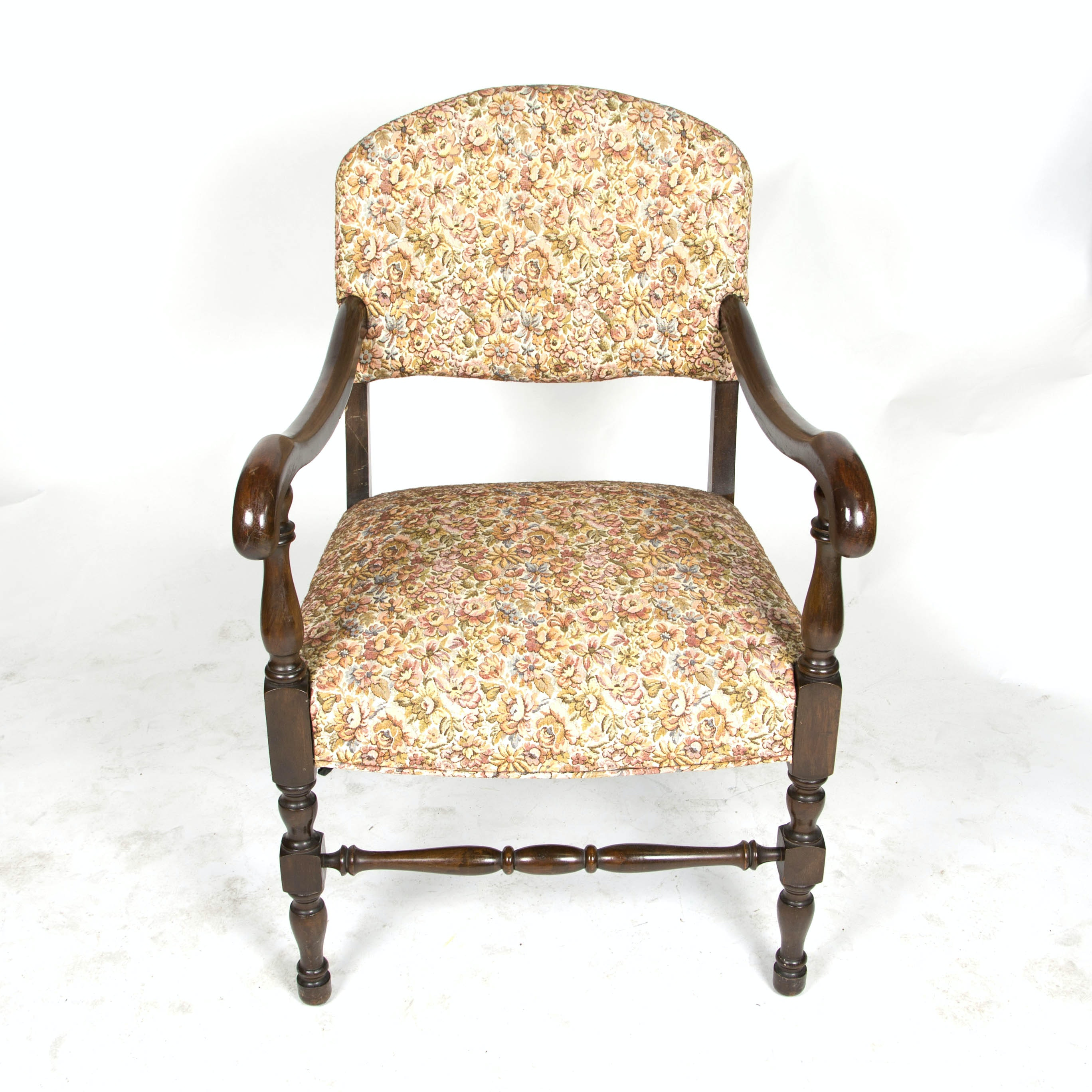 Vintage Jacobean Style Upholstered Arm Chair