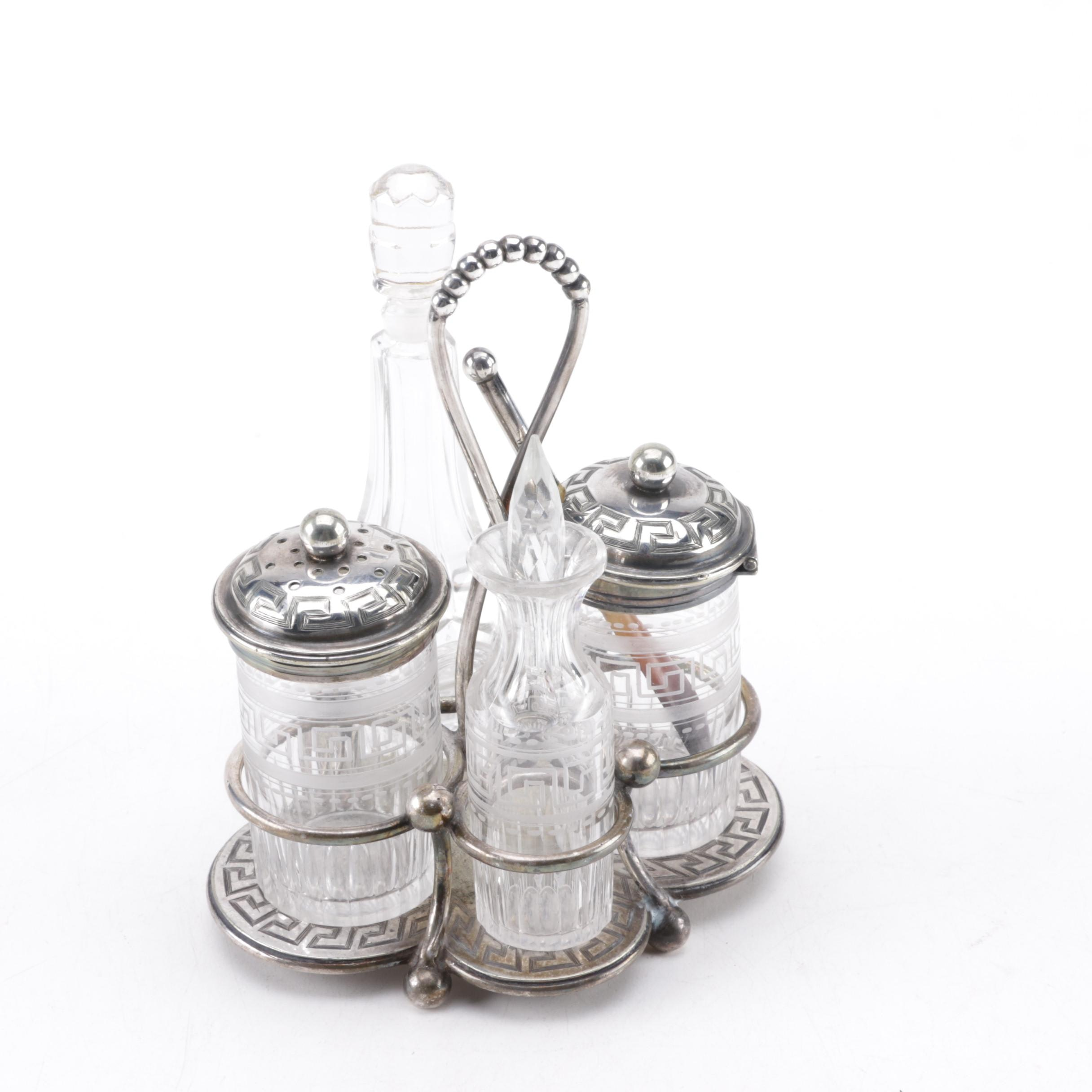 19th Century Padley, Parkin & Staniforth Silver Plate and Glass Condiment Caddy