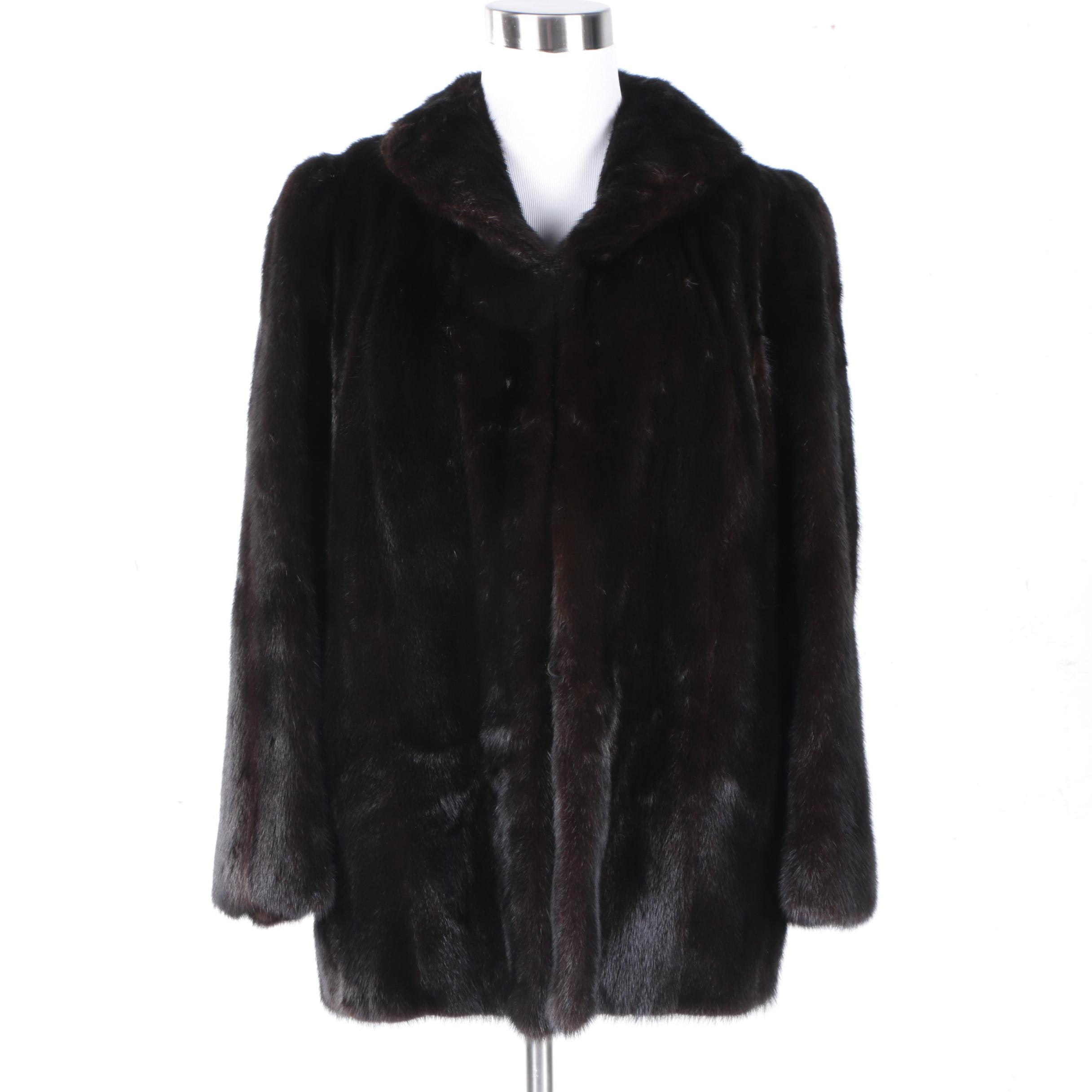 Dark Brown Mink Fur Coat by Eagle Furs