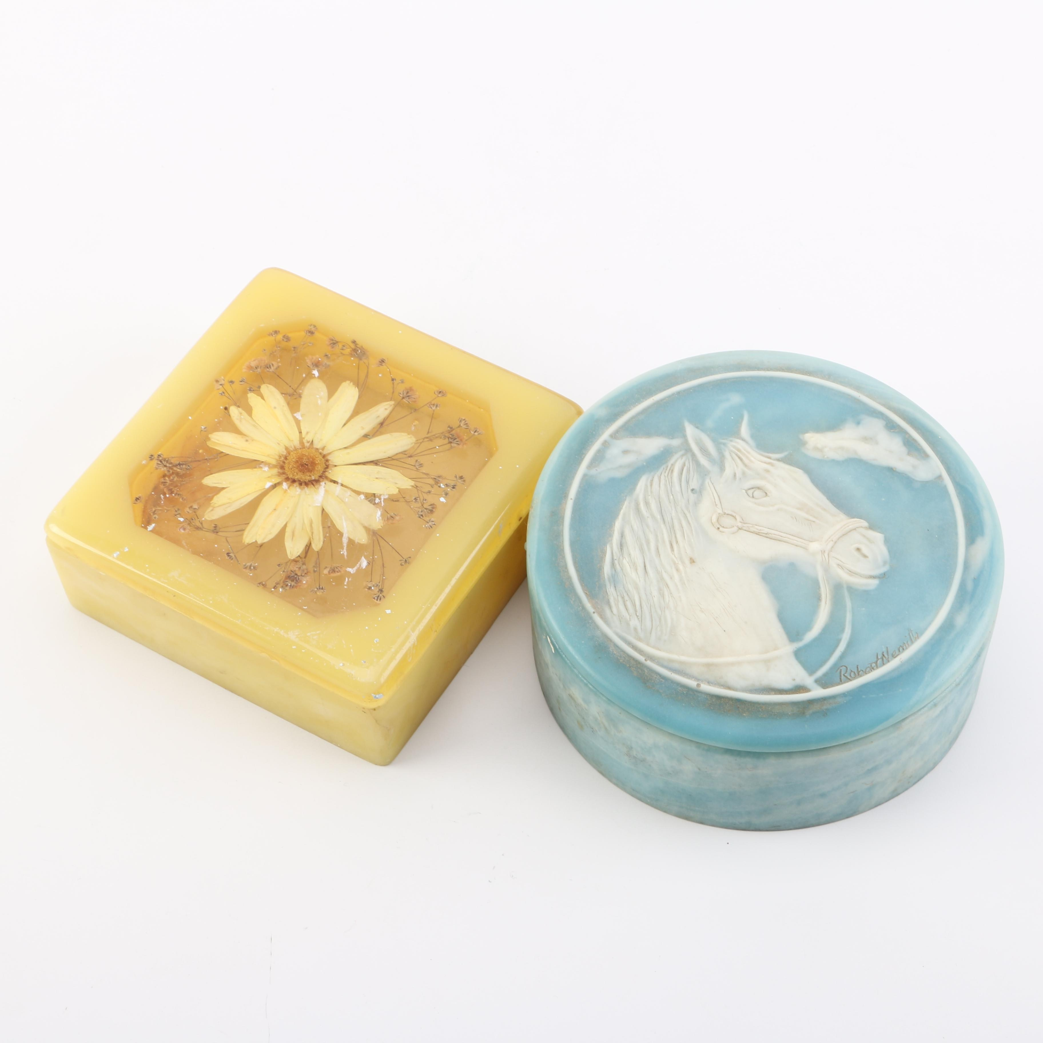 Horse and Flower Themed Trinket Boxes