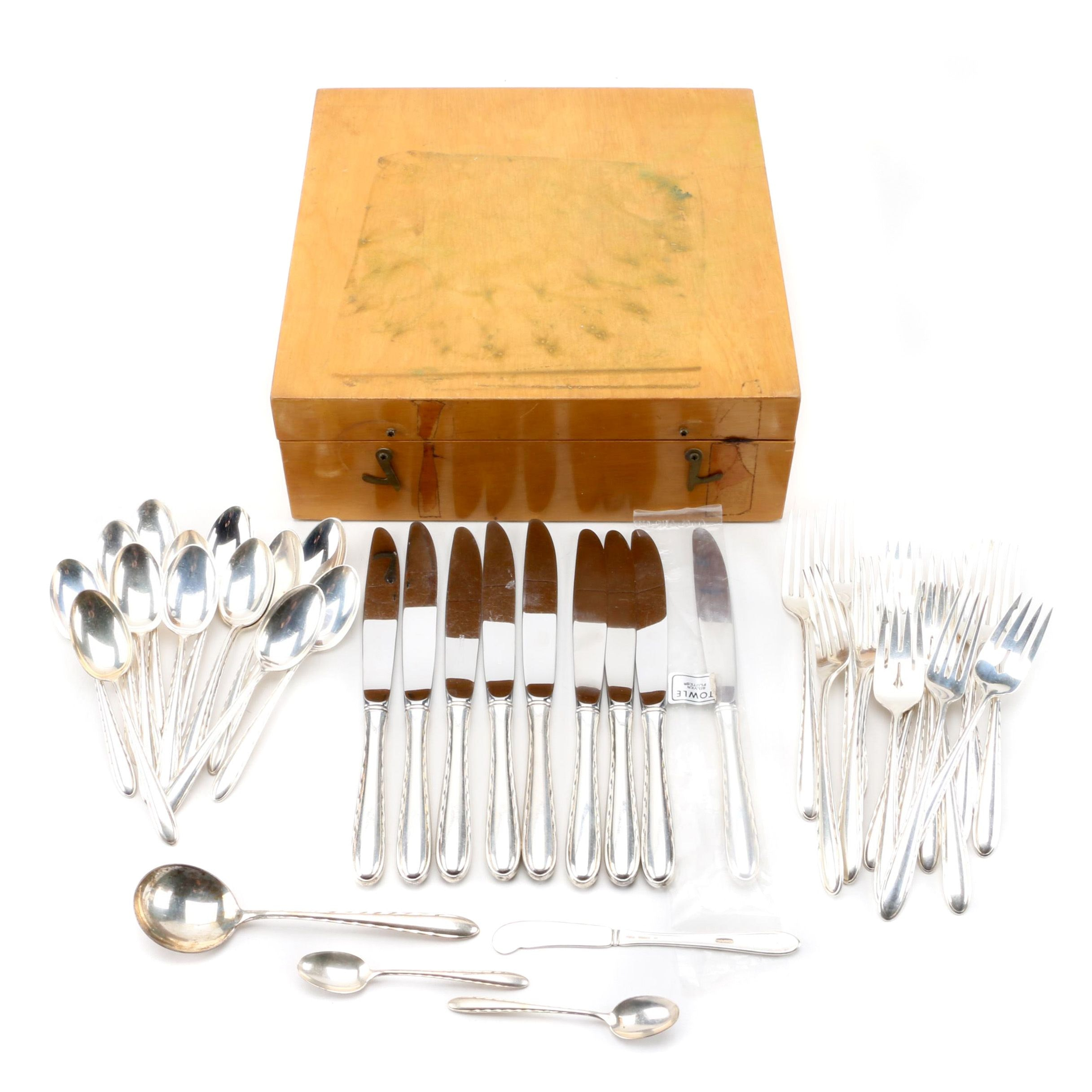 """Towle Sterling Silver """"Silver Flutes"""" Flatware  and Flatware Chest"""