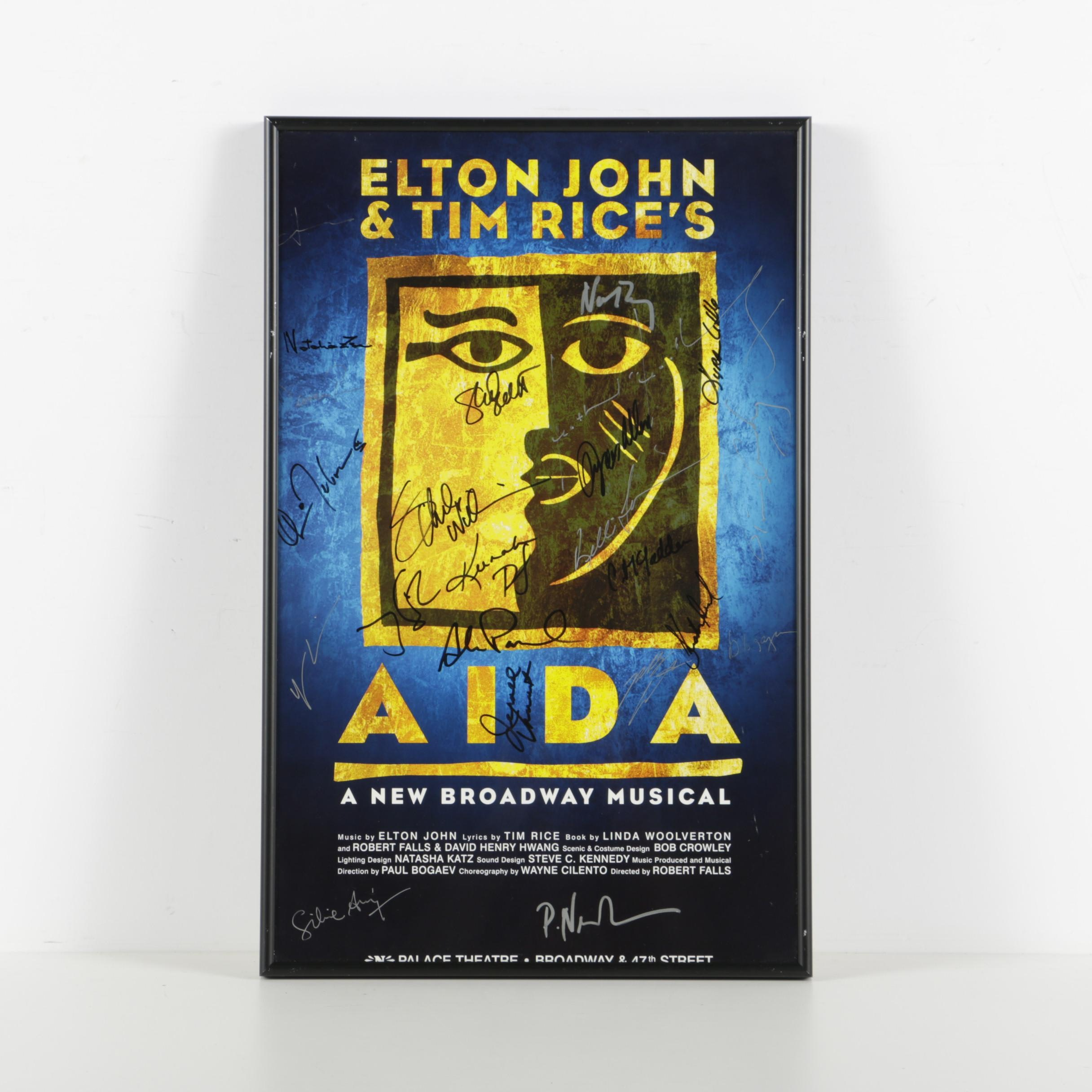 """Cast-Signed Poster for Elton John and Tim Rice's """"Aida"""" Musical on Broadway"""
