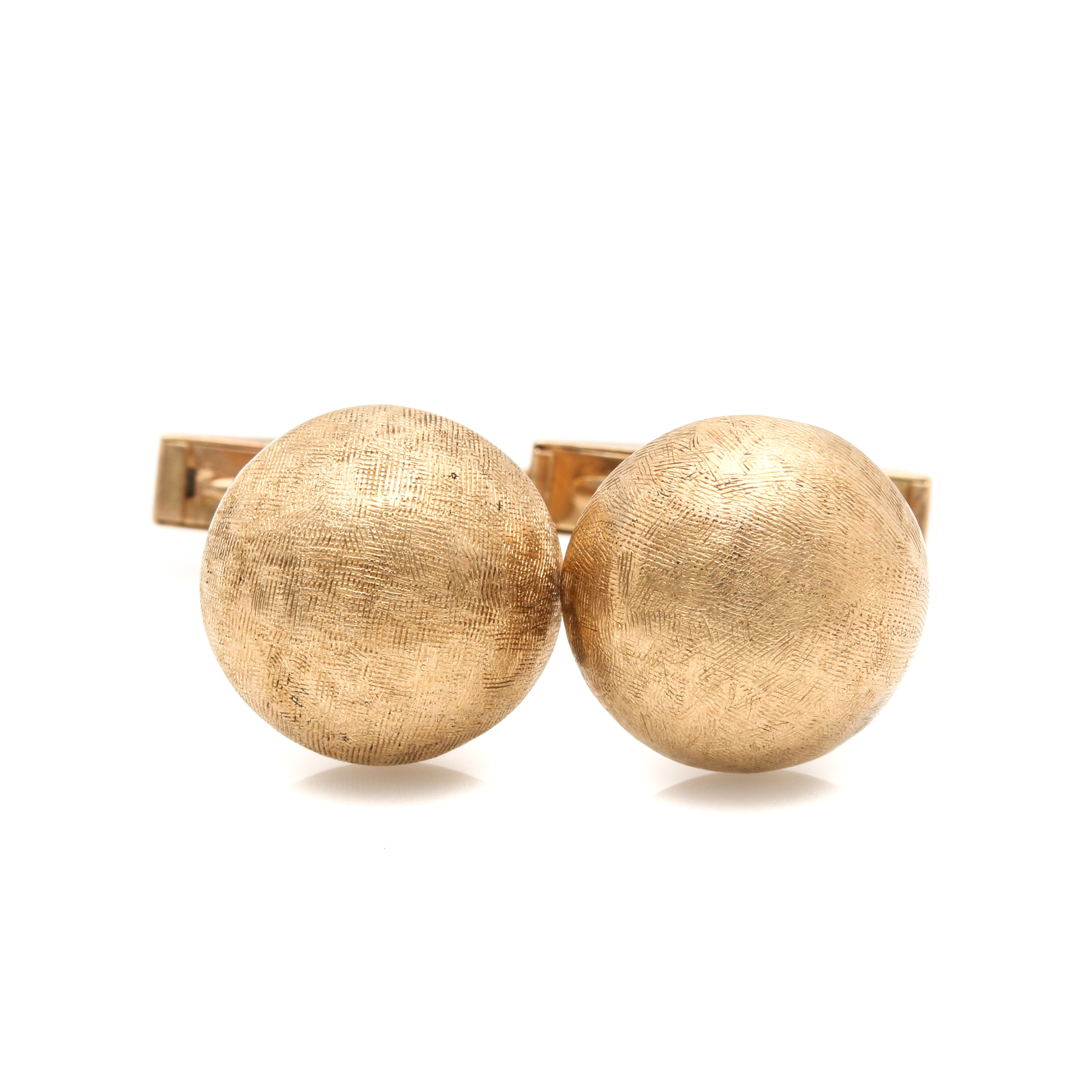 Vintage 14K Yellow Gold Button Cuff Links
