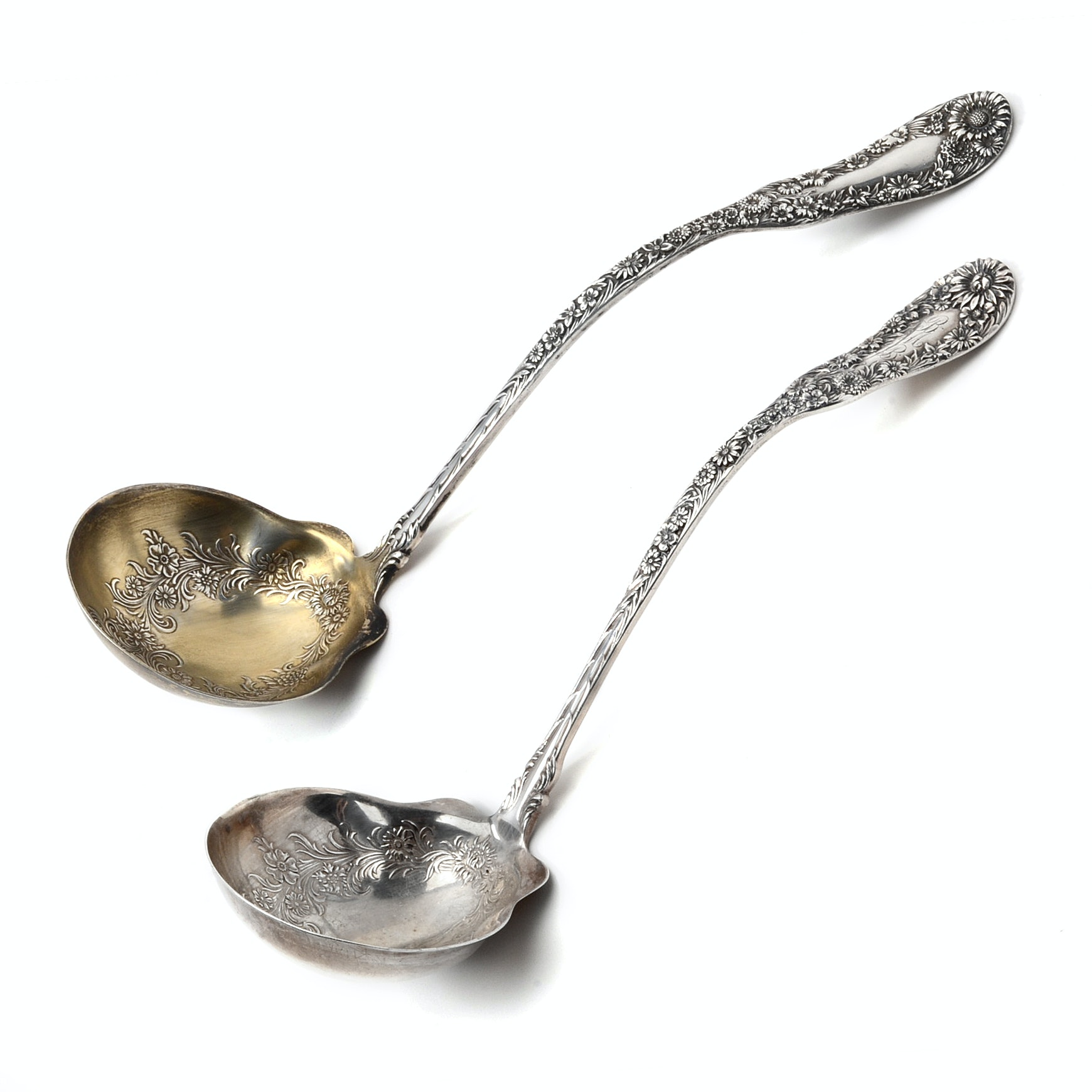"Two Antique Dominick & Haff Sterling Silver Ladles in Floral Pattern ""No. 10"""