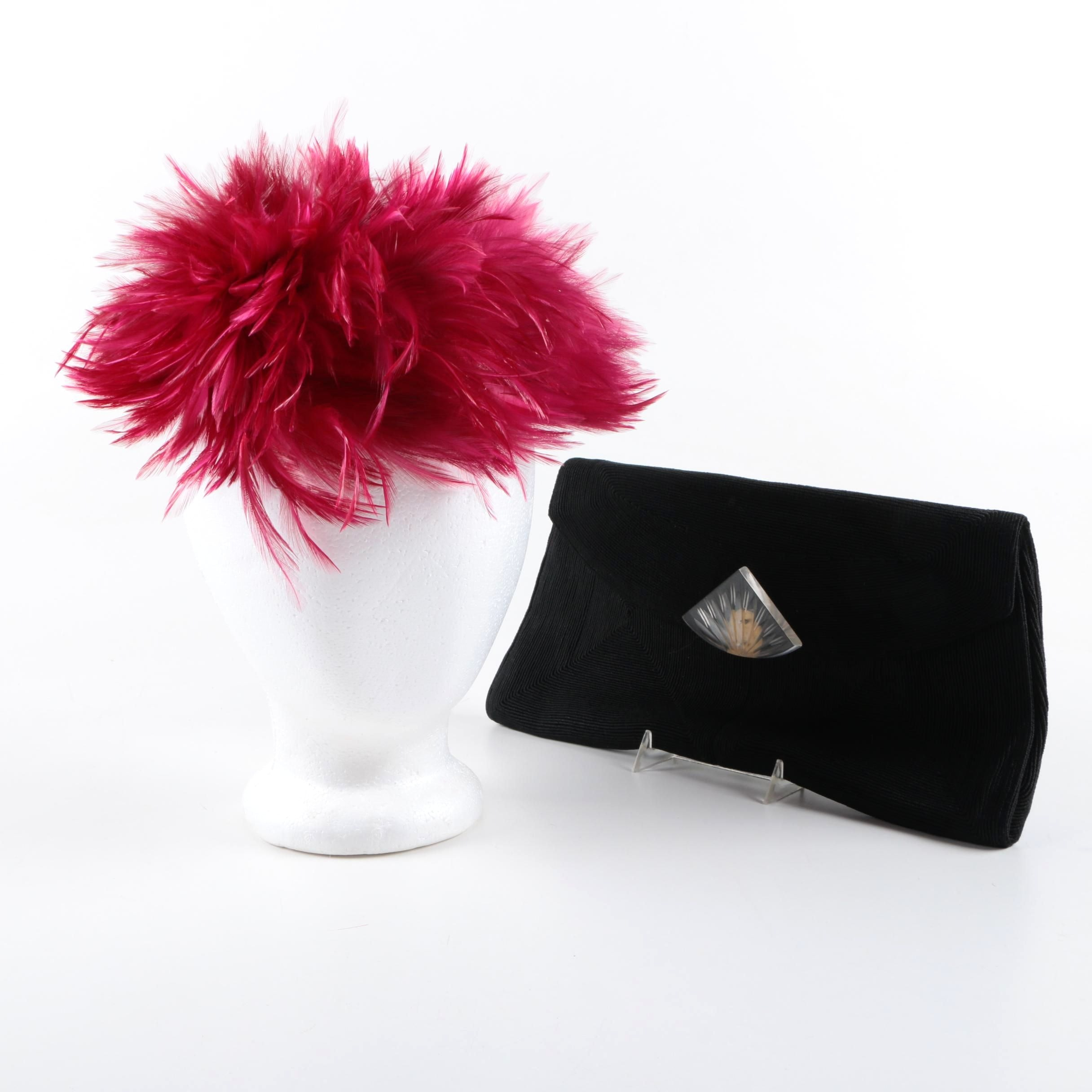 Vintage Corde Clutch and B. Altman & Co. Feather Headpiece