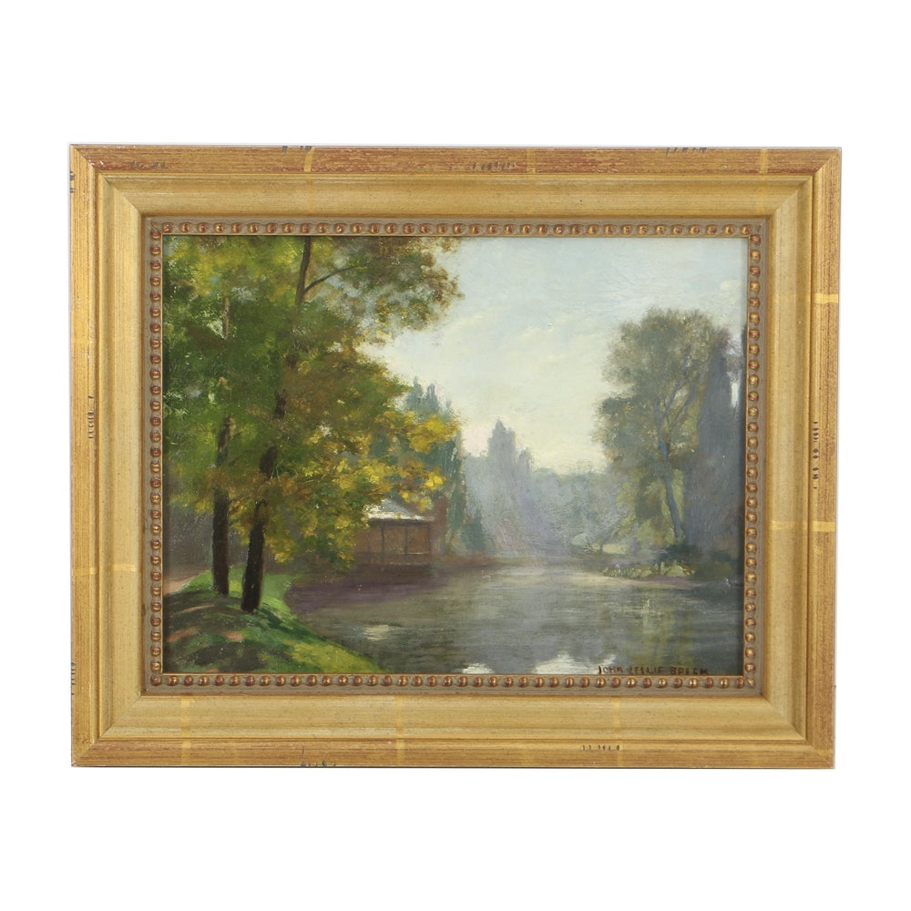 John Leslie Breck Oil Painting on Canvas of Giverny Landscape