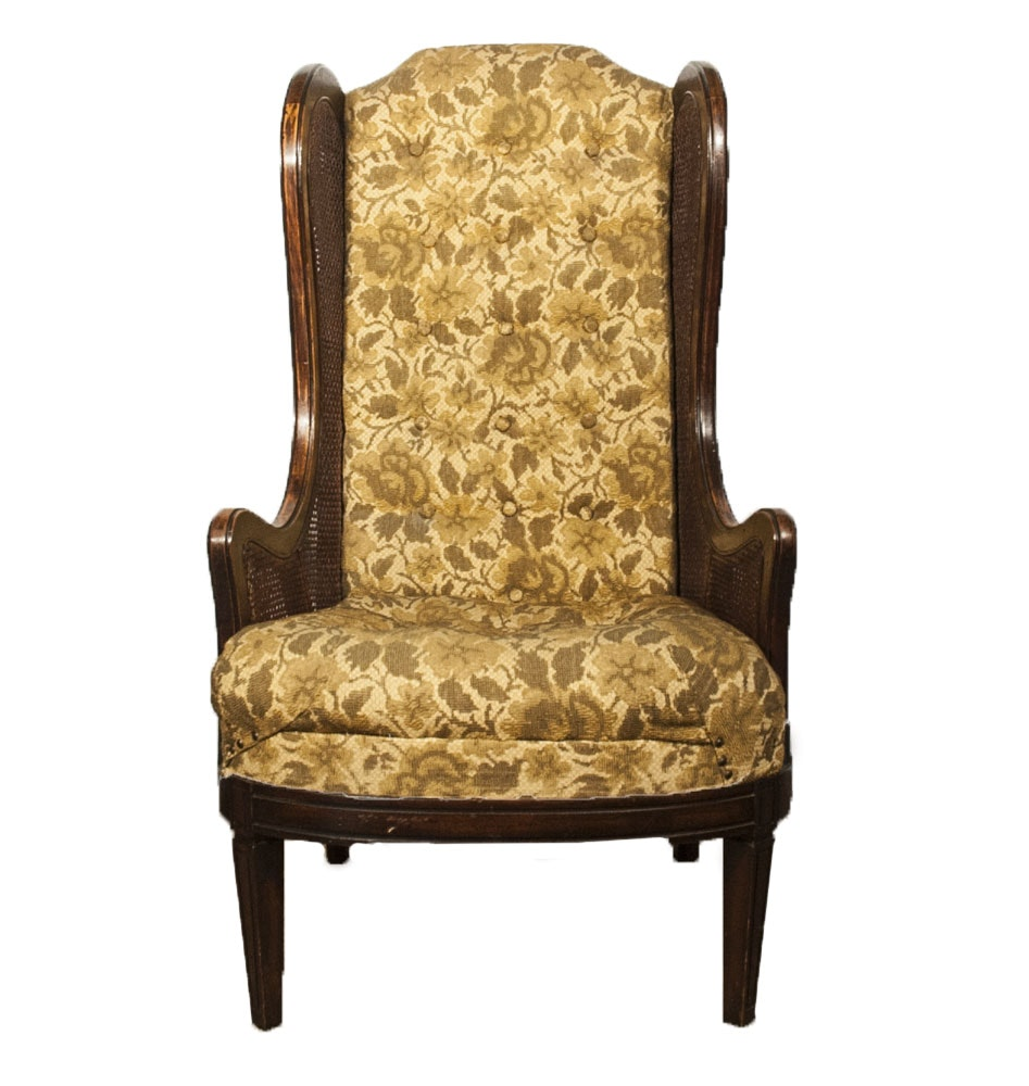 Mid-Century Caned Wingback Armchair