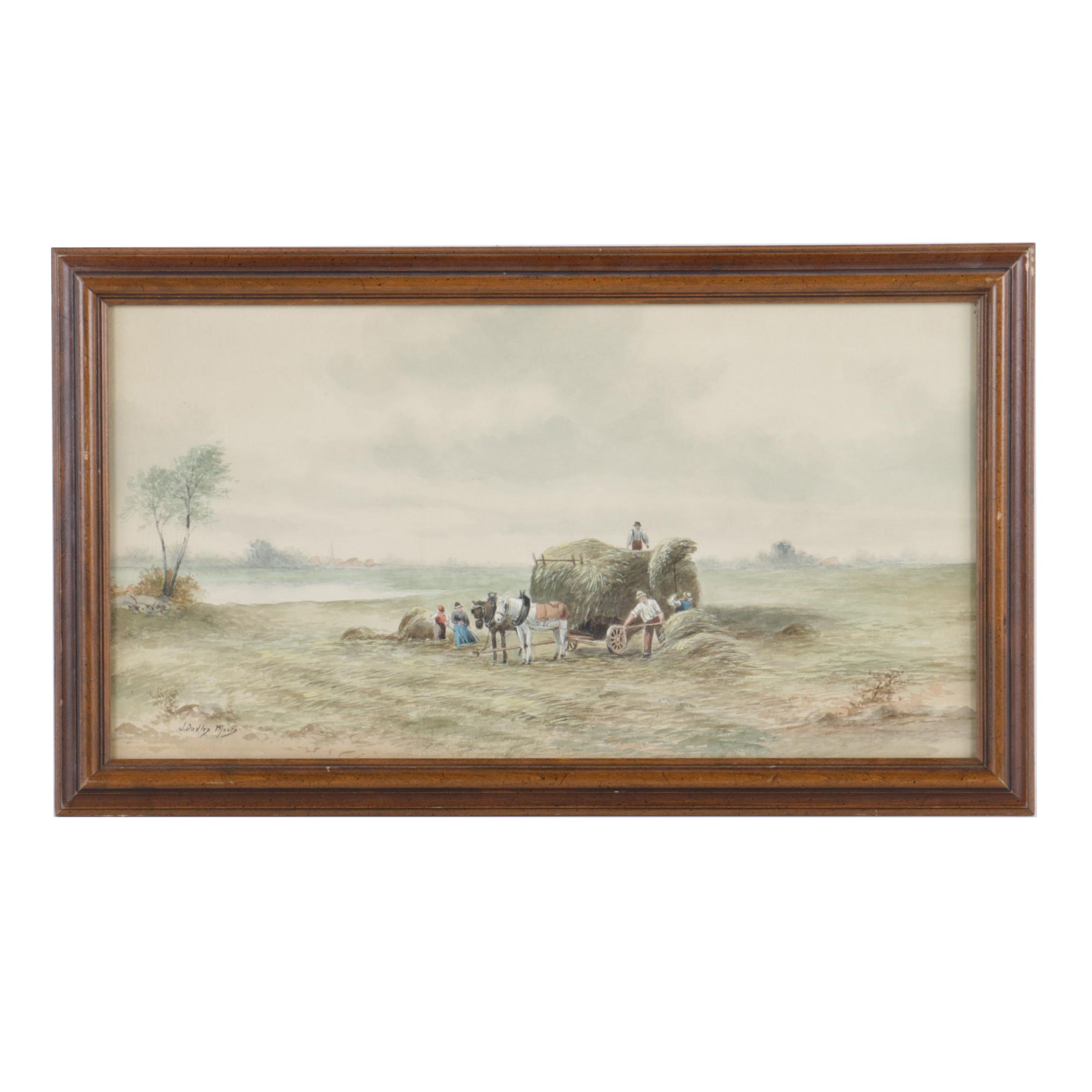 J. Dudley Moore Watercolor Painting on Paper of Farm Scene