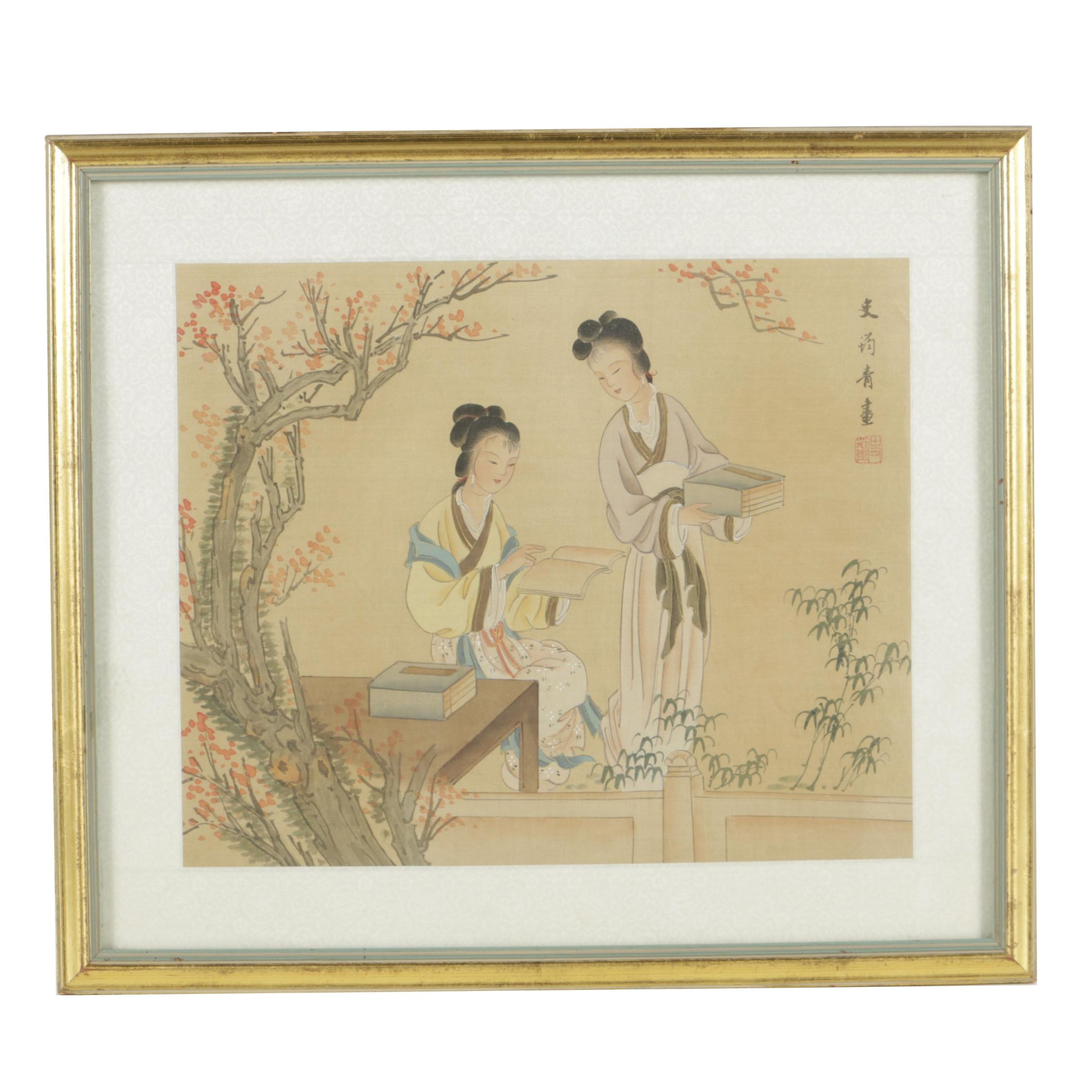 East Asian Gouache and Watercolor Painting on Silk of Two Female Figures Reading