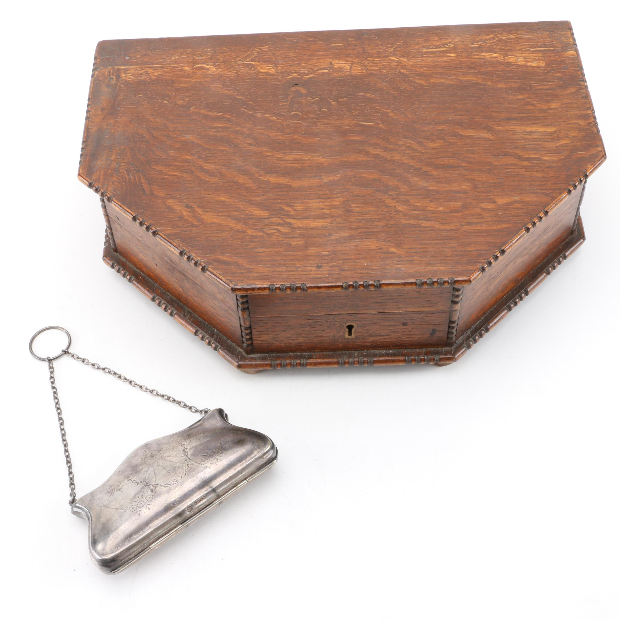 Vintage Wooden Jewelry Box with Silver-Plated Coin Purse