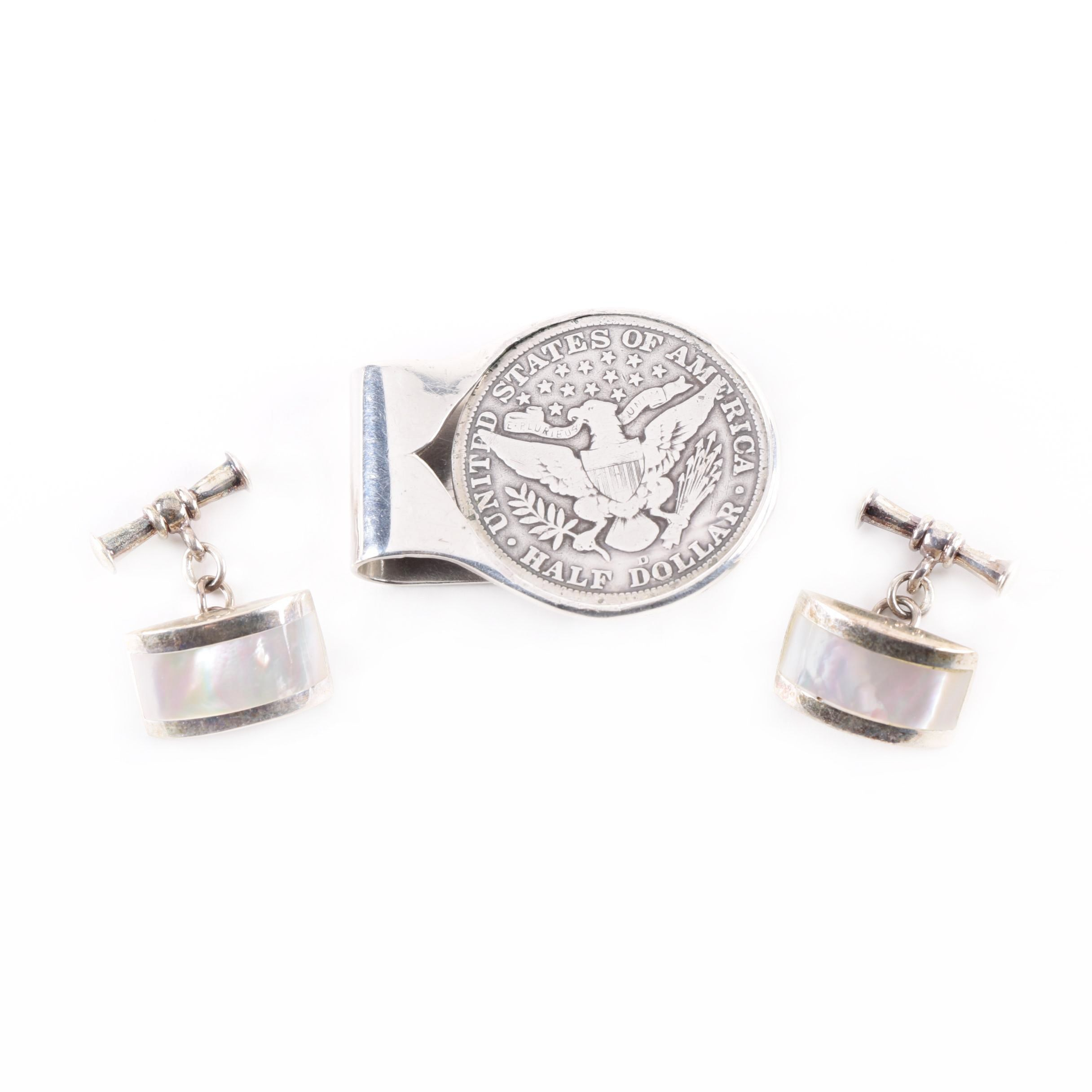 Pair of Sterling Silver Cufflinks and Money Clip