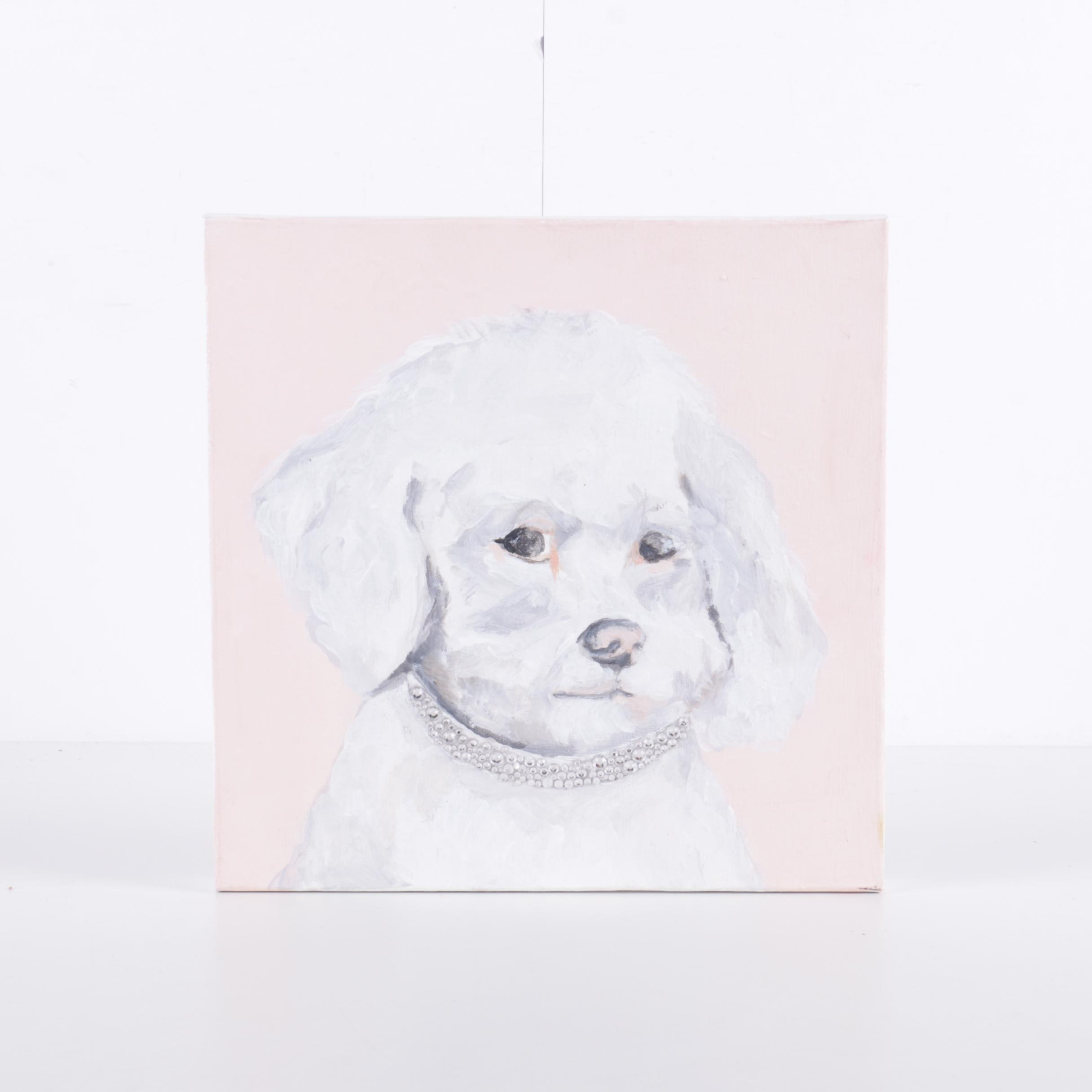 Contemporary Oil Painting on Canvas of Bichon Frise Portrait