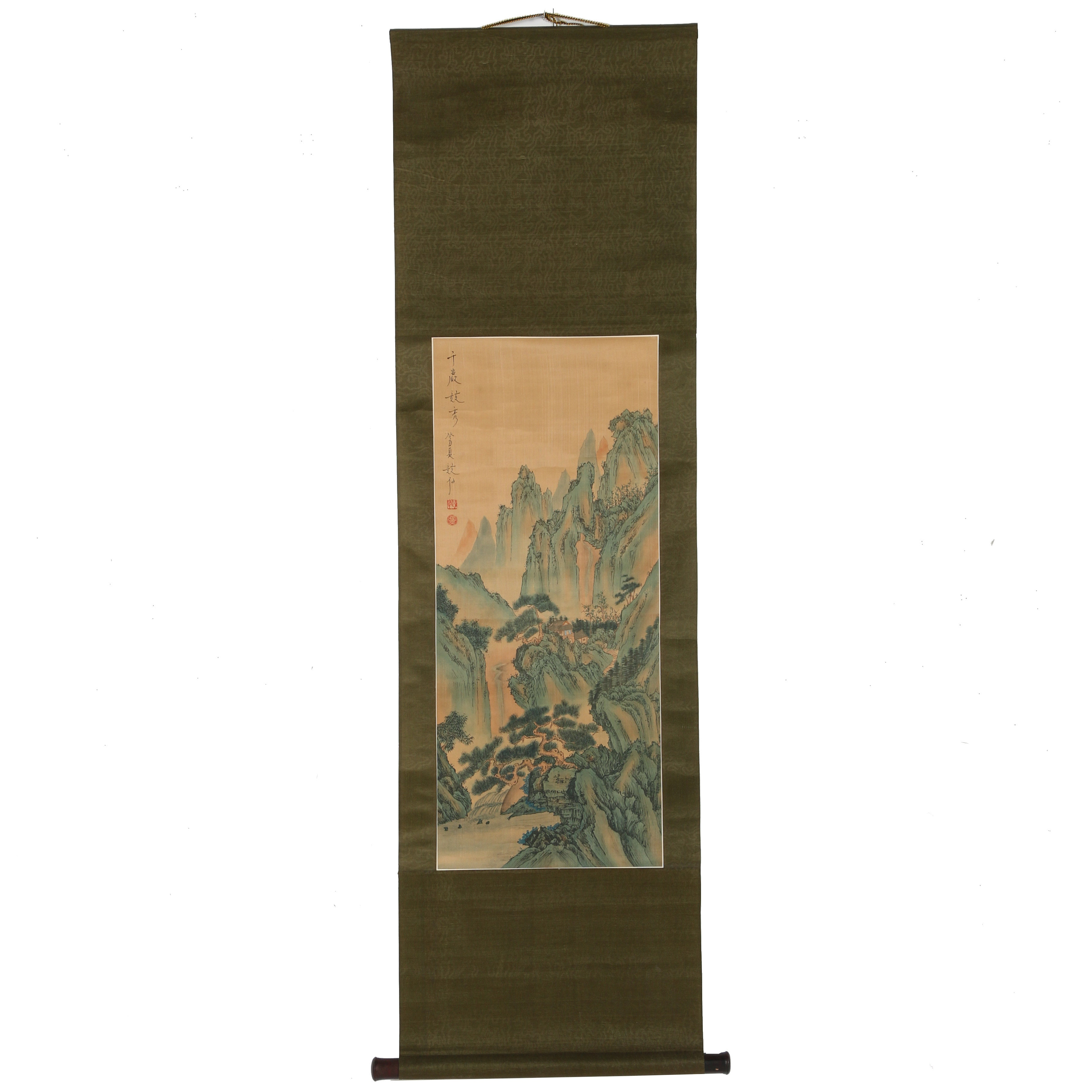East Asian Style Gouache Scroll Painting on Silk of Landscape