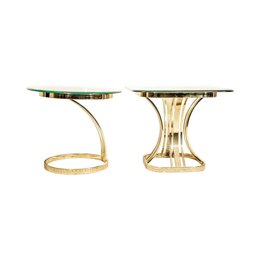 Two Contemporary Style Glass Top and Brass End Tables