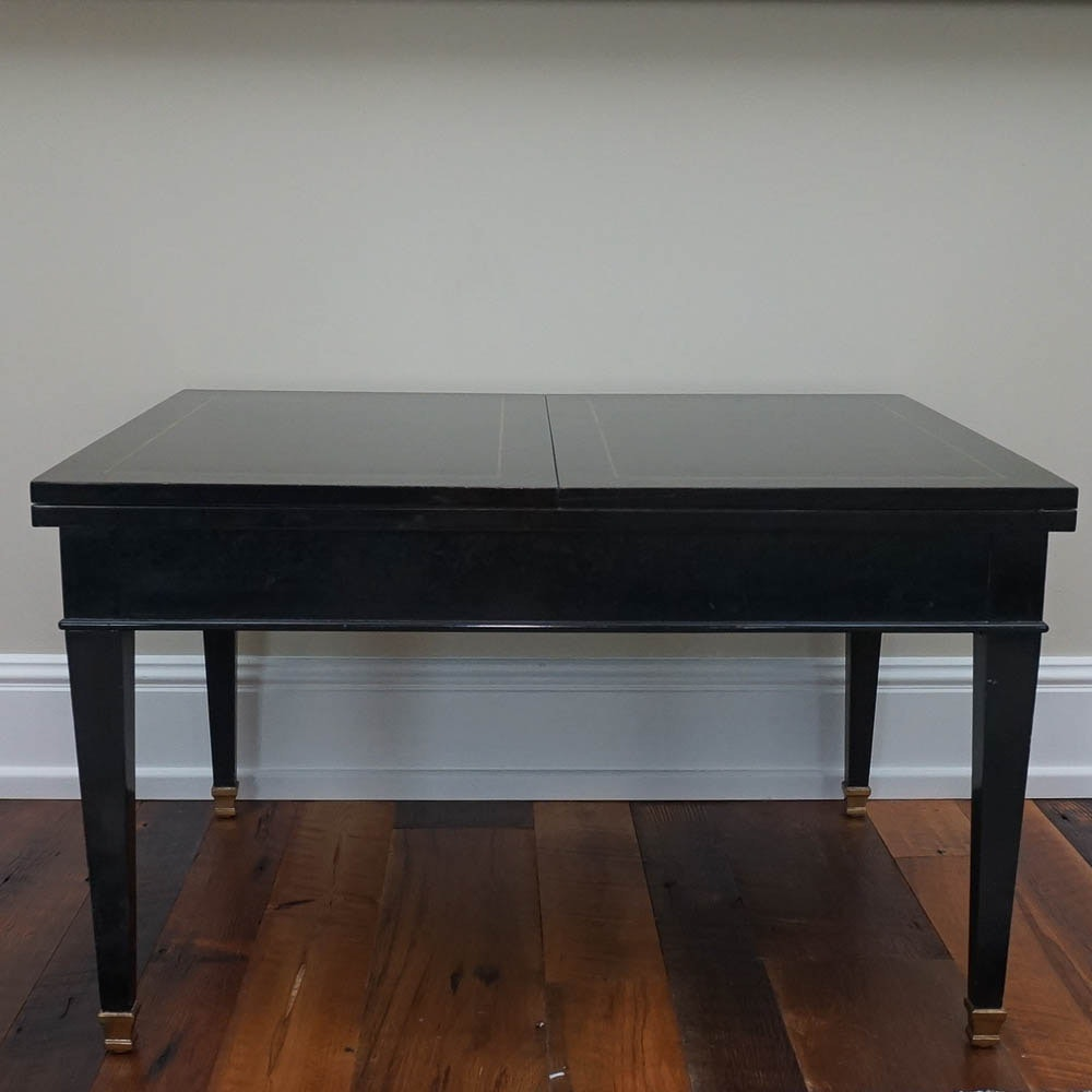 Inlaid Flip-Top Black Lacquer Coffee Table by Henredon