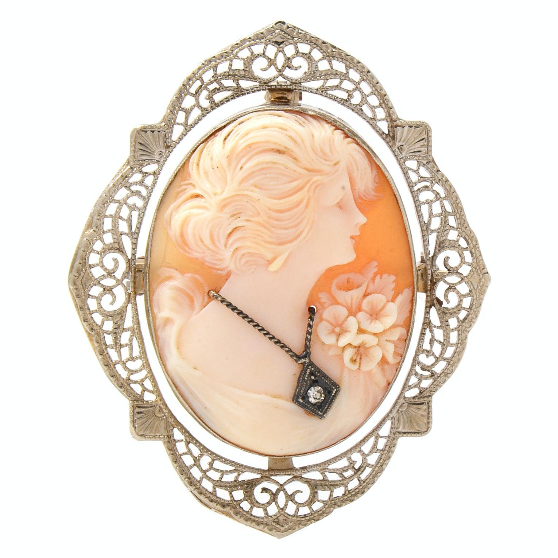 14K White Gold Helmet Shell Cameo And Diamond Habillé Pendant Brooch