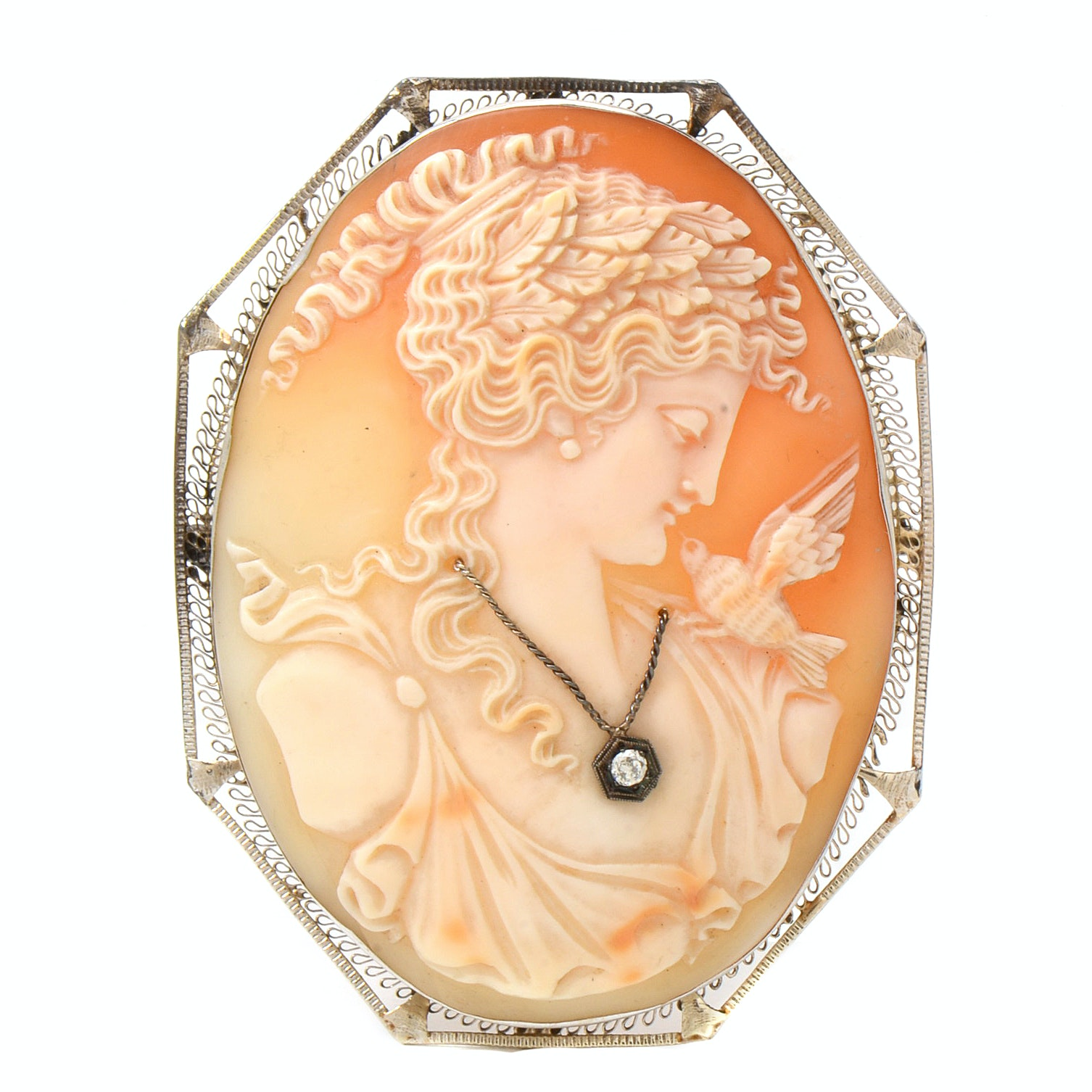 Large 14K White Gold Shell And Diamond Habillé Cameo Pendant Brooch
