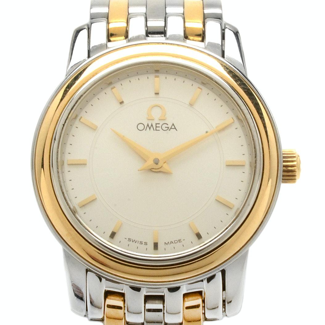 Omega DeVille Prestige 18K Gold and Steel Quartz Wristwatch