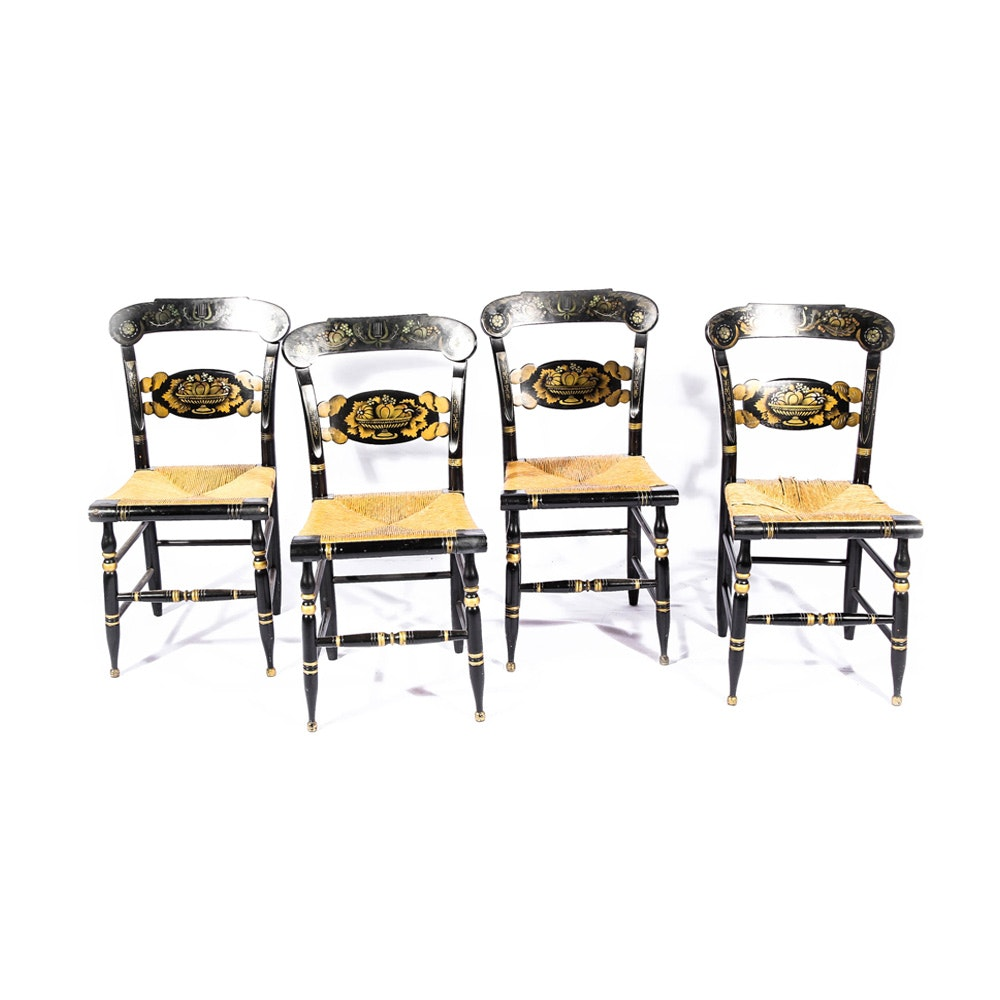 Kling Turtle Back Hitchcock Painted Chairs