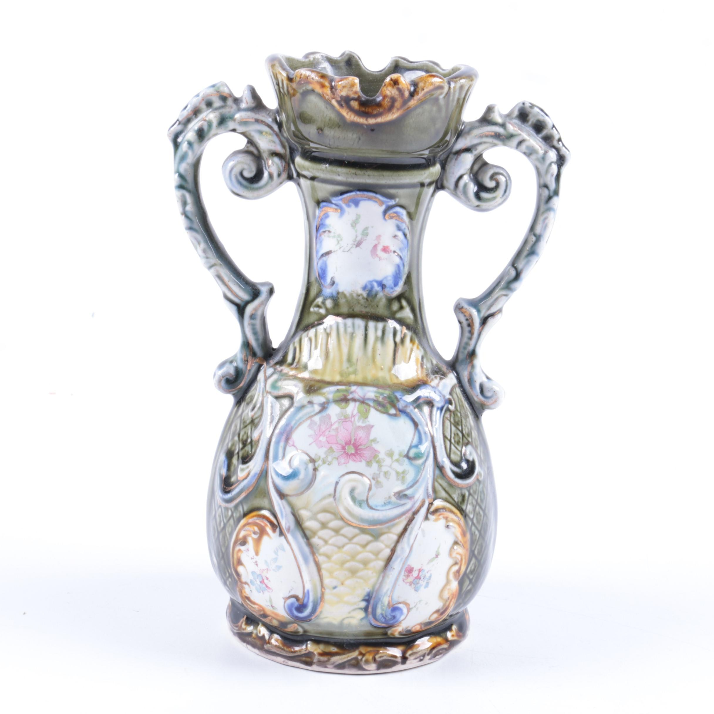 Majolica Style Urn Shaped Ceramic Vase