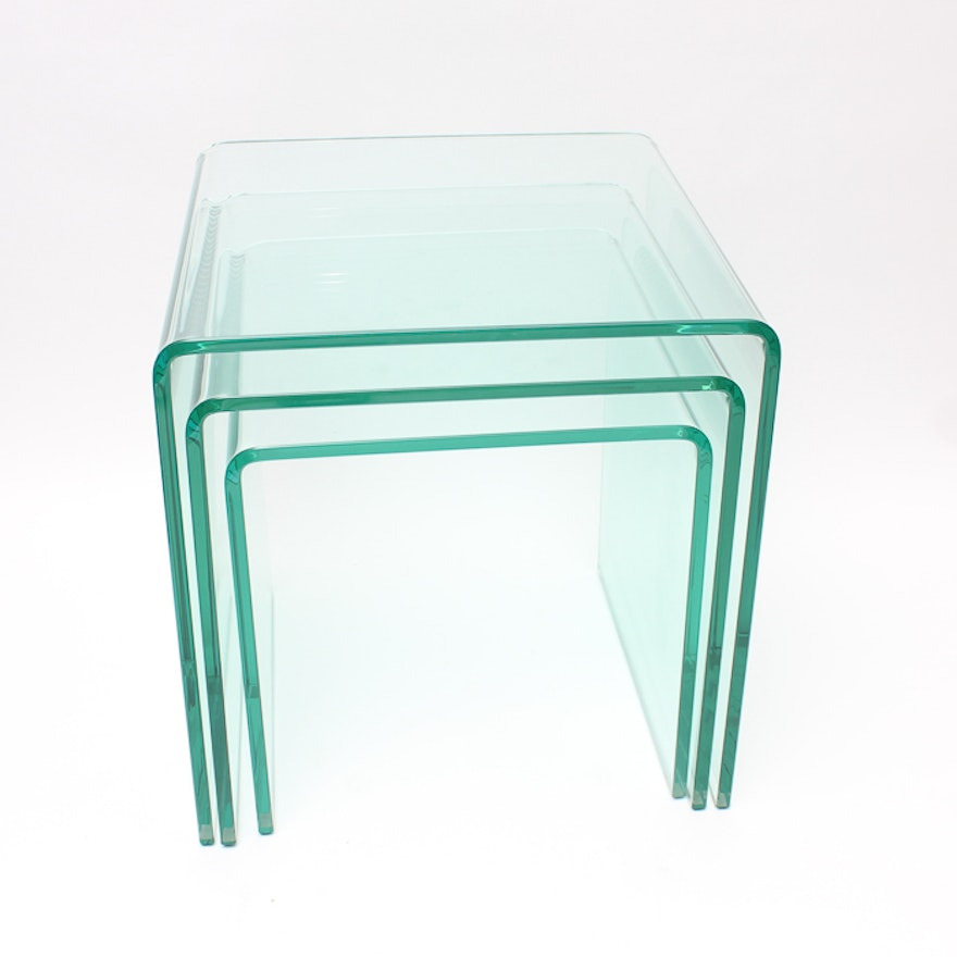 Set of three angle form glass nesting tables ebth set of three angle form glass nesting tables watchthetrailerfo