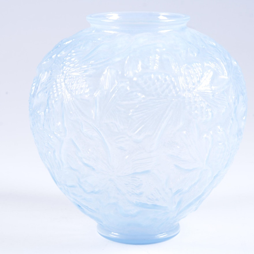 Phoenix And Consolidated Glass Company Molded Floral Glass Vase Ebth