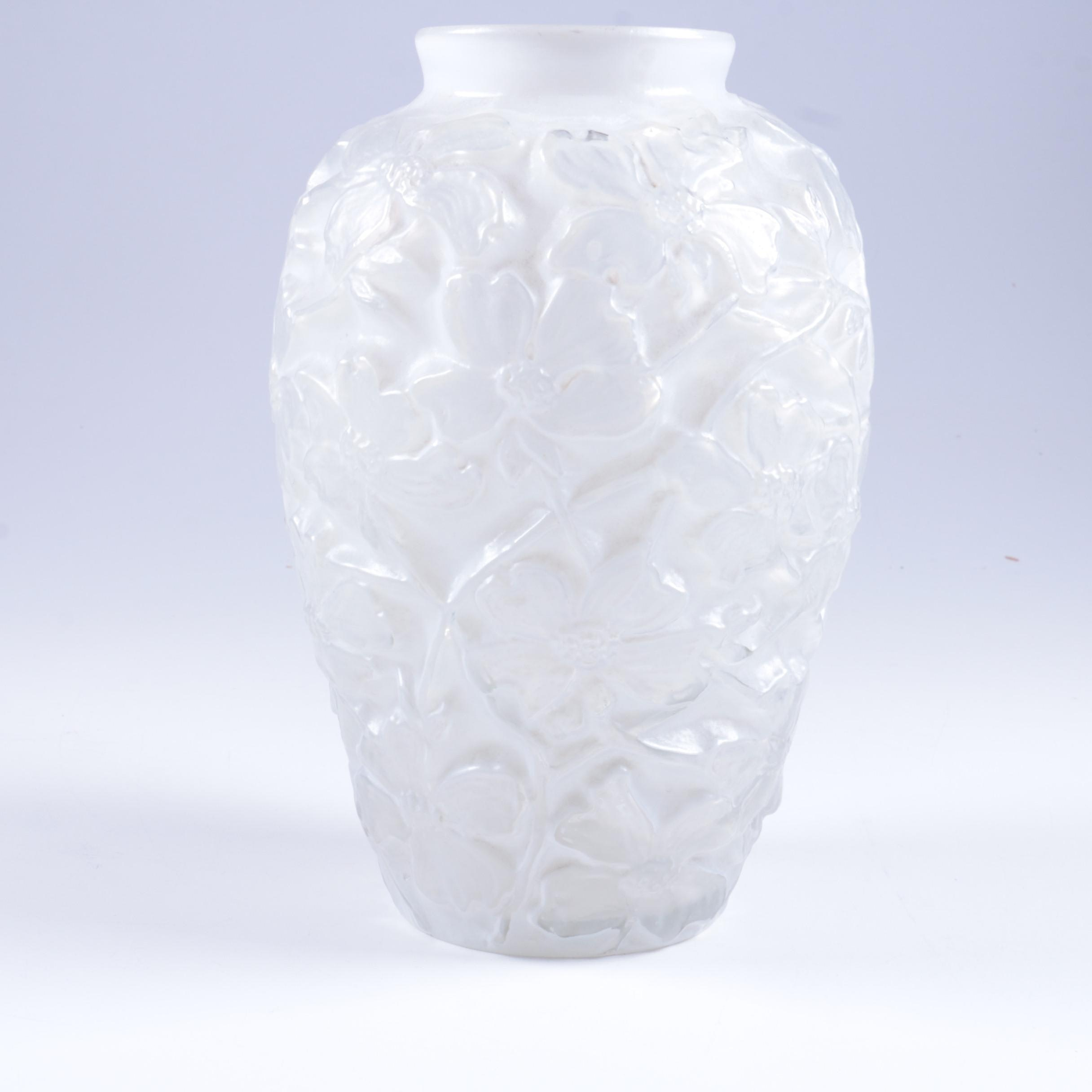 Phoenix and Consolidated Glass Company Molded Glass Floral Vase