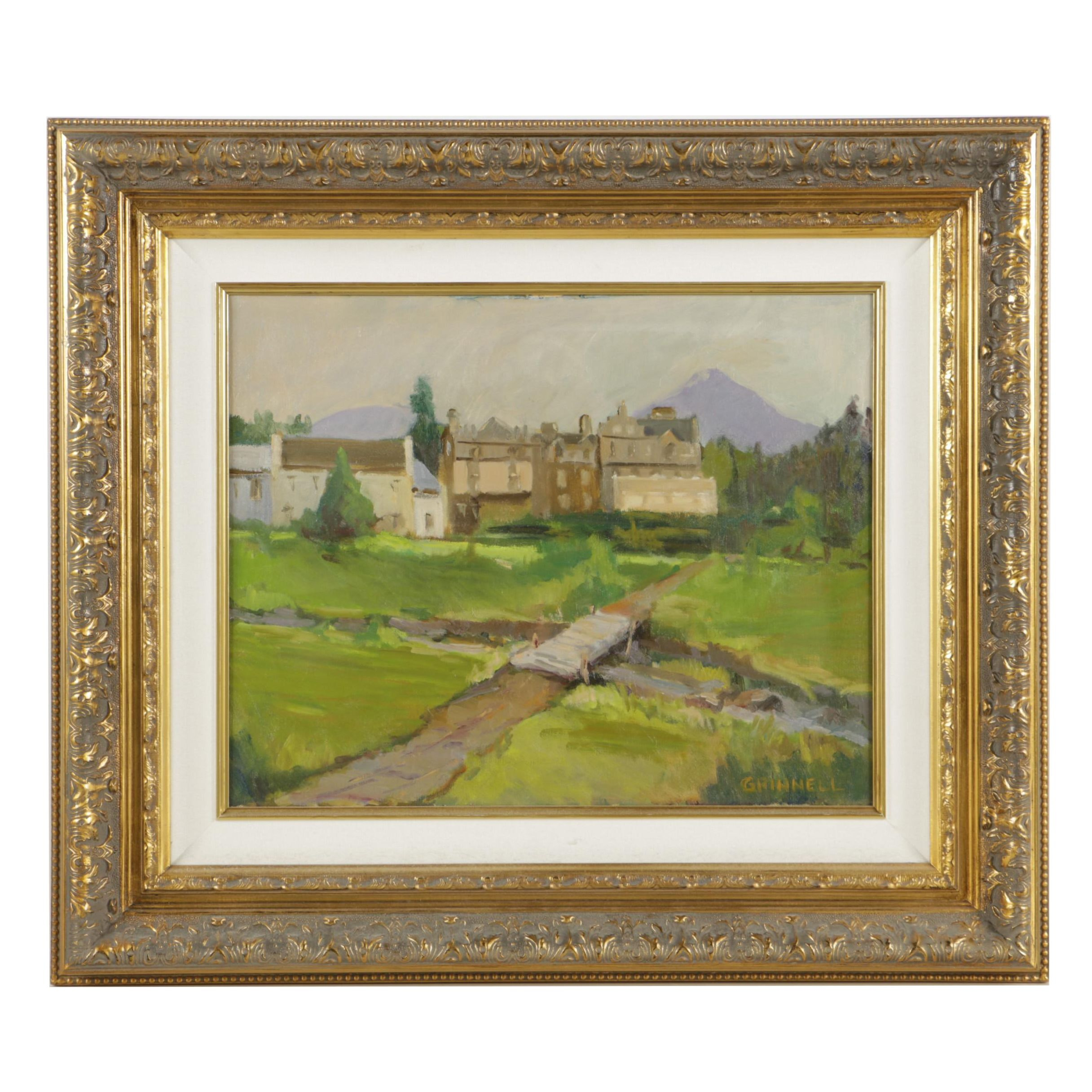 Grinnell Oil Painting on Canvas of Country Estate
