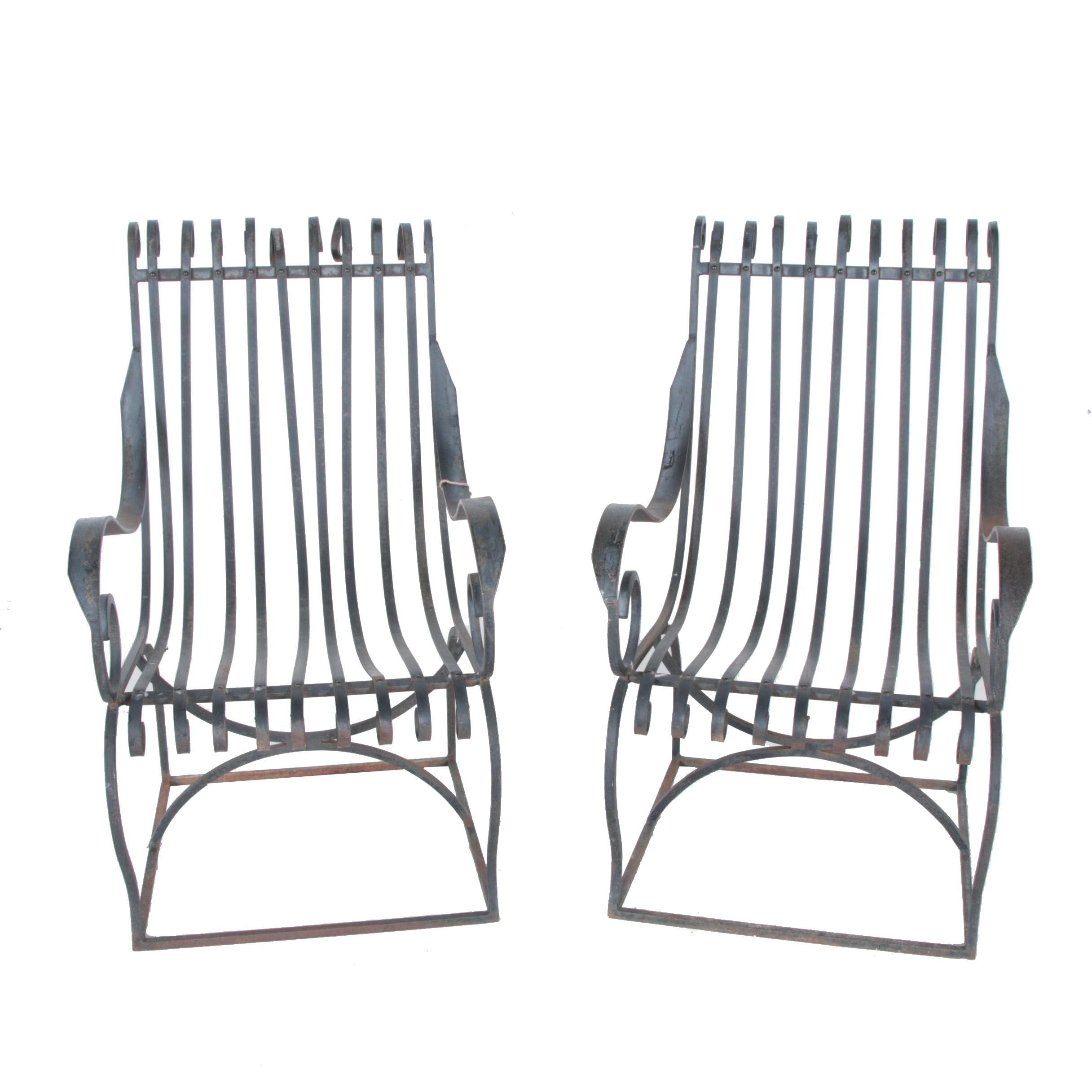 Pair of Wrought Iron and Scrolled Steel Garden Chairs