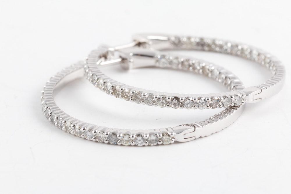14K White Gold 2.81 CTW Diamond Inside Out Hoop Earrings
