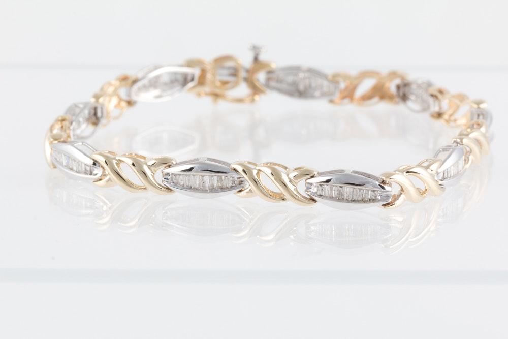 10K Two Tone Gold 1.20 CTW Diamond Bracelet