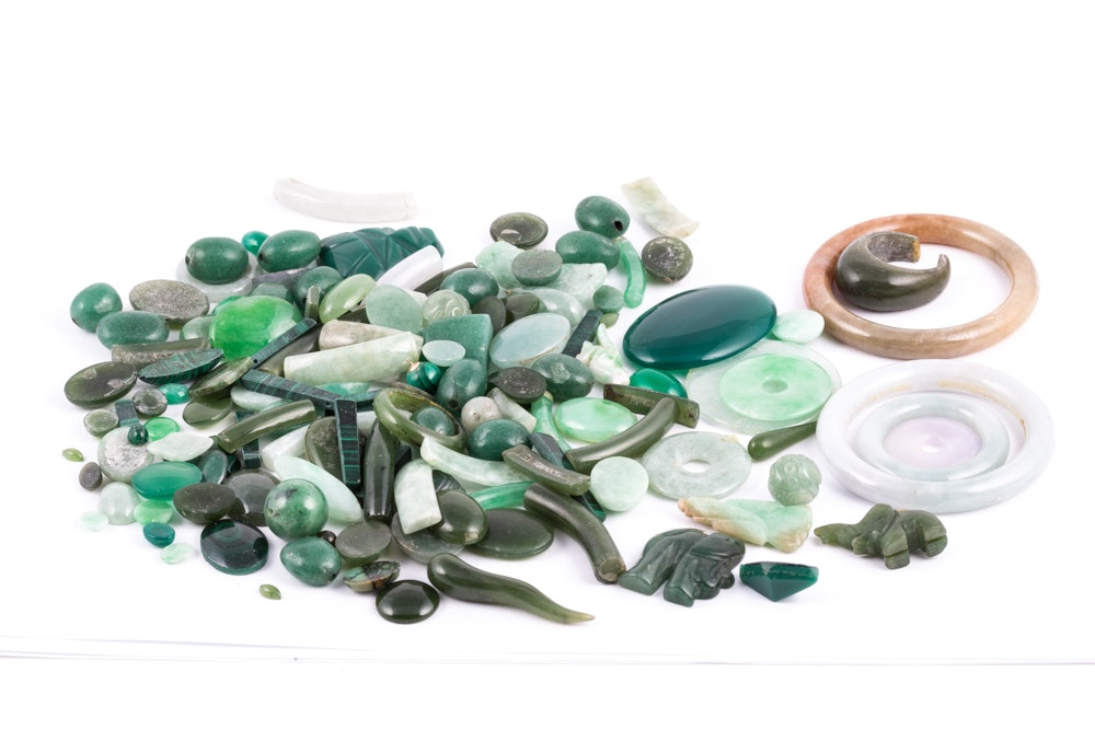 Carved and Cabochon Stones Including Jadeite Jade and Nephrite Jade