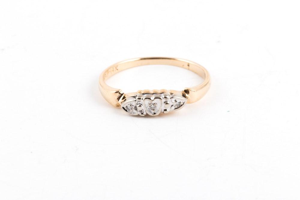 14K Yellow Gold Diamond Heart Ring