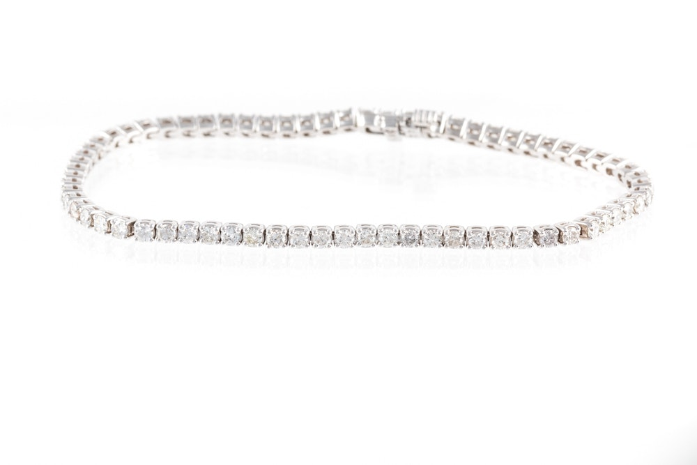 14K White Gold 2.78 CTW Diamond Bracelet