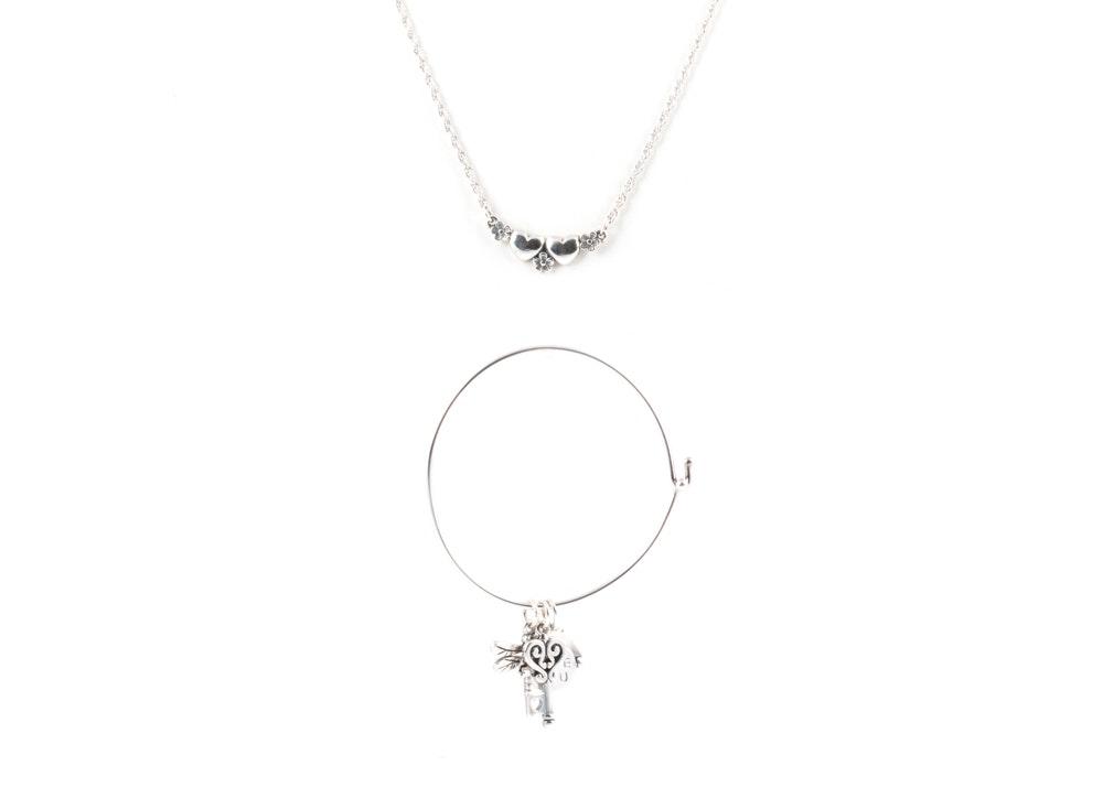 James Avery Sterling Silver Necklace and Charm Bracelet