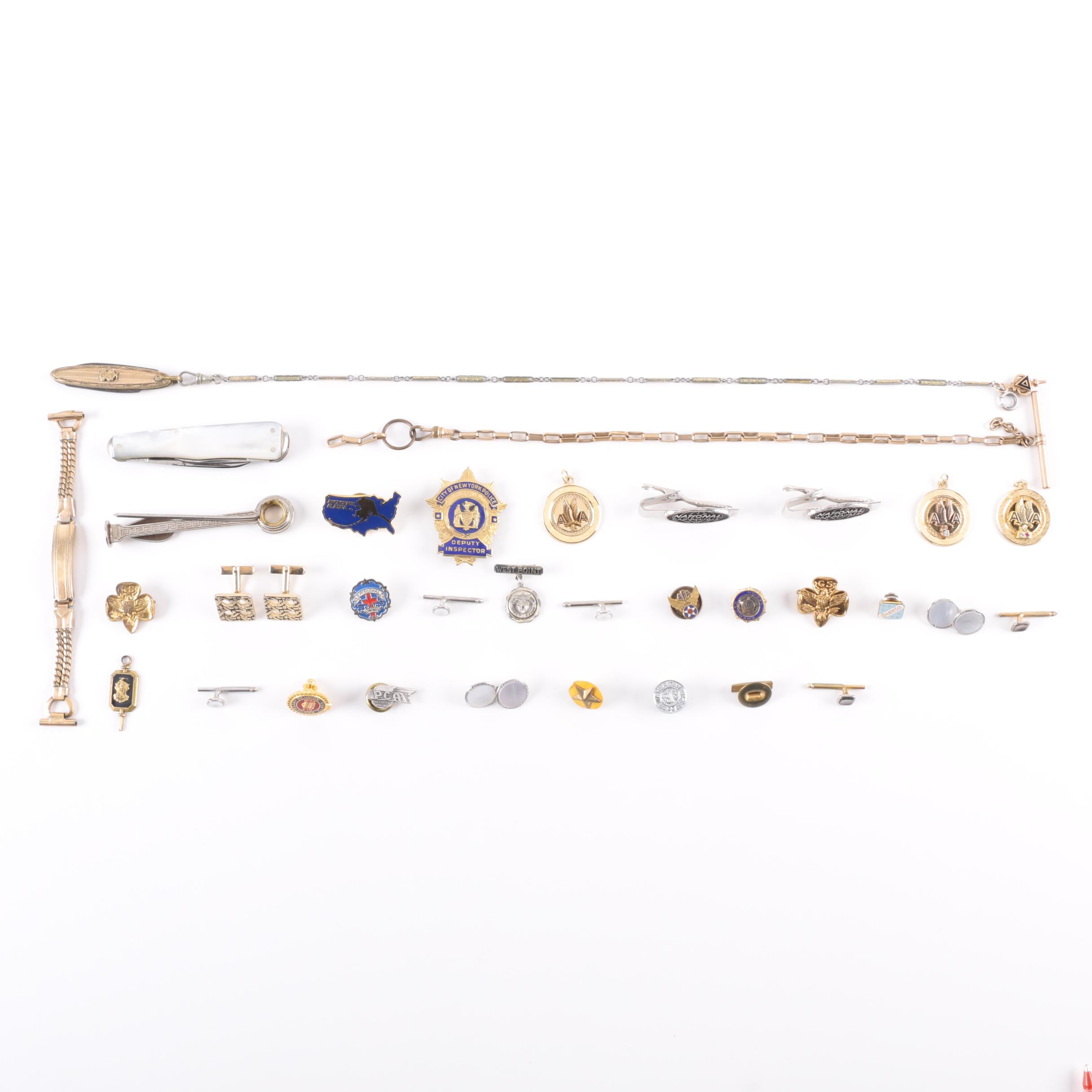 Assortment of Costume Jewelry Including a 14K Gold Charm on Fob