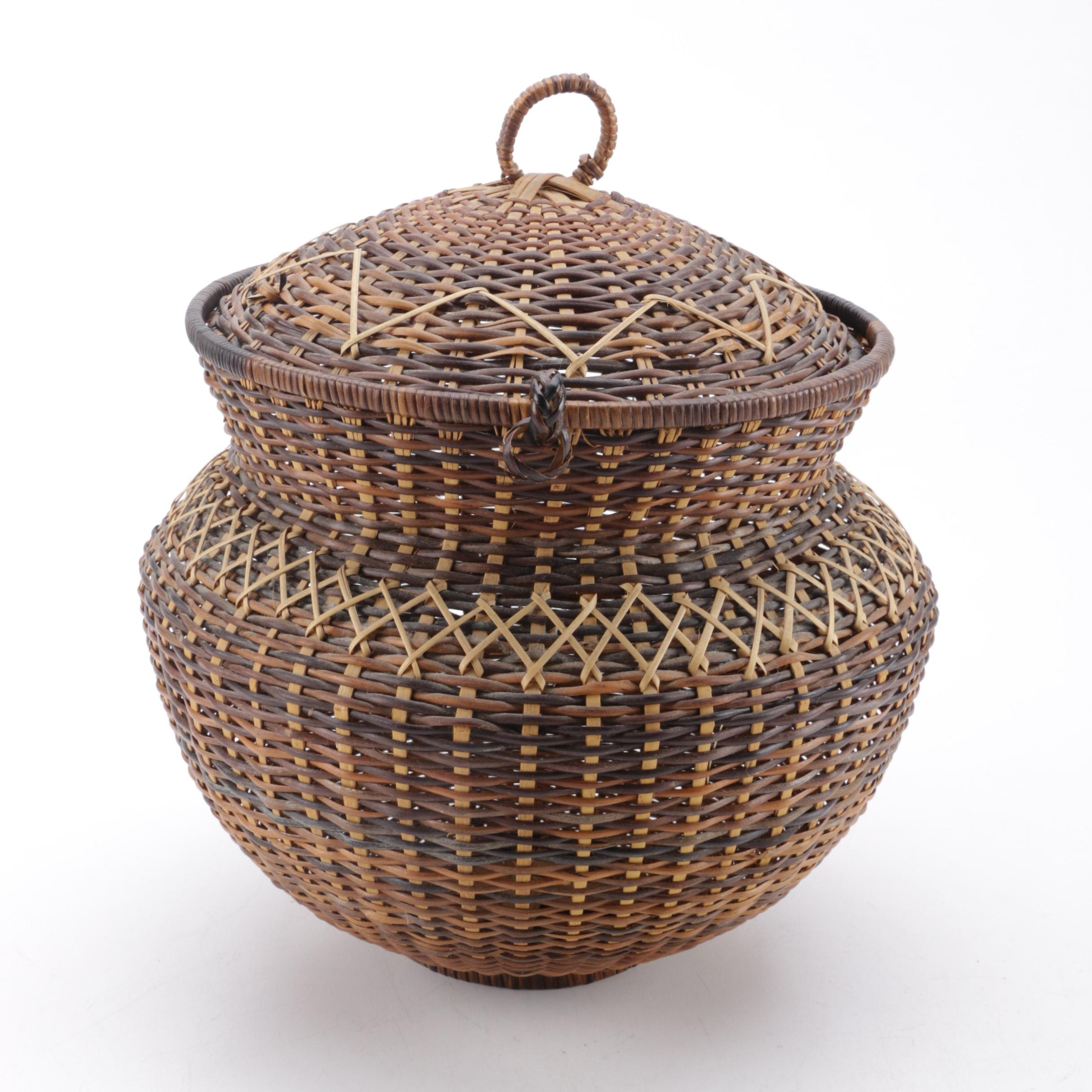 Woven Basket with Lid and Handle