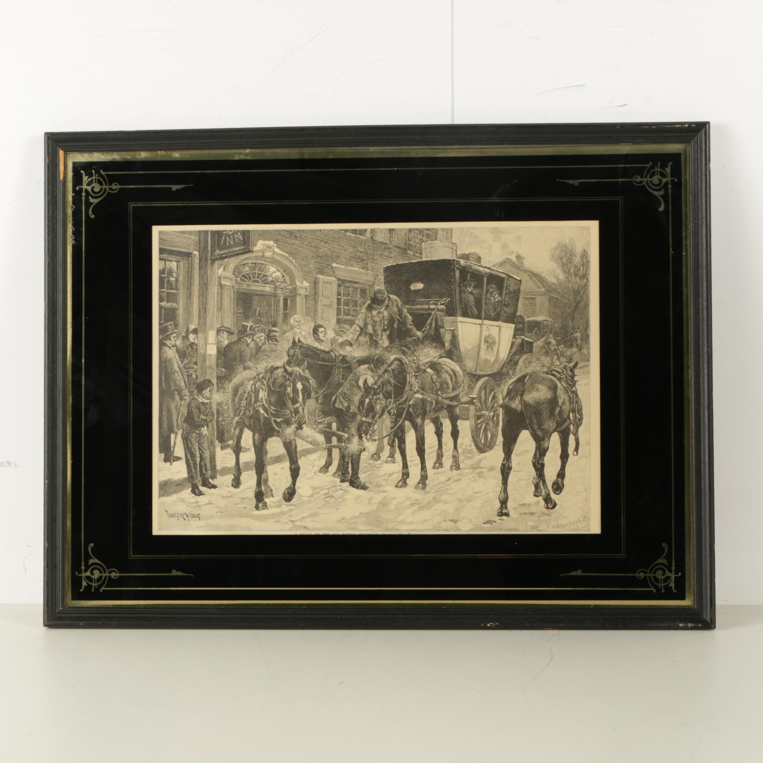 """Reproduction Print on Paper After After Thulsrup """"A Relay on the Old Boston"""""""