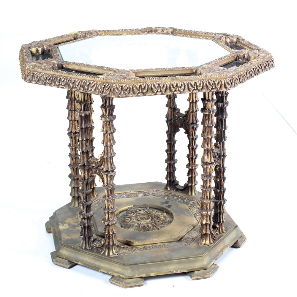 Ornate Gold Toned Glass Top Side Table