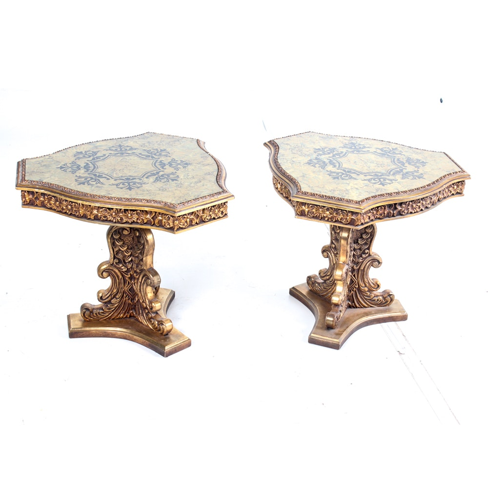 Pair of Ornate Glass Top Side Tables