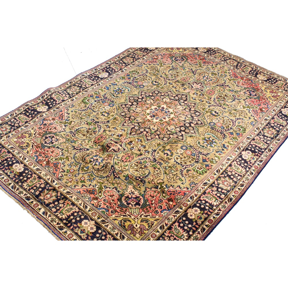 Semi-Antique Hand-Knotted Persian Tabriz Area Rug