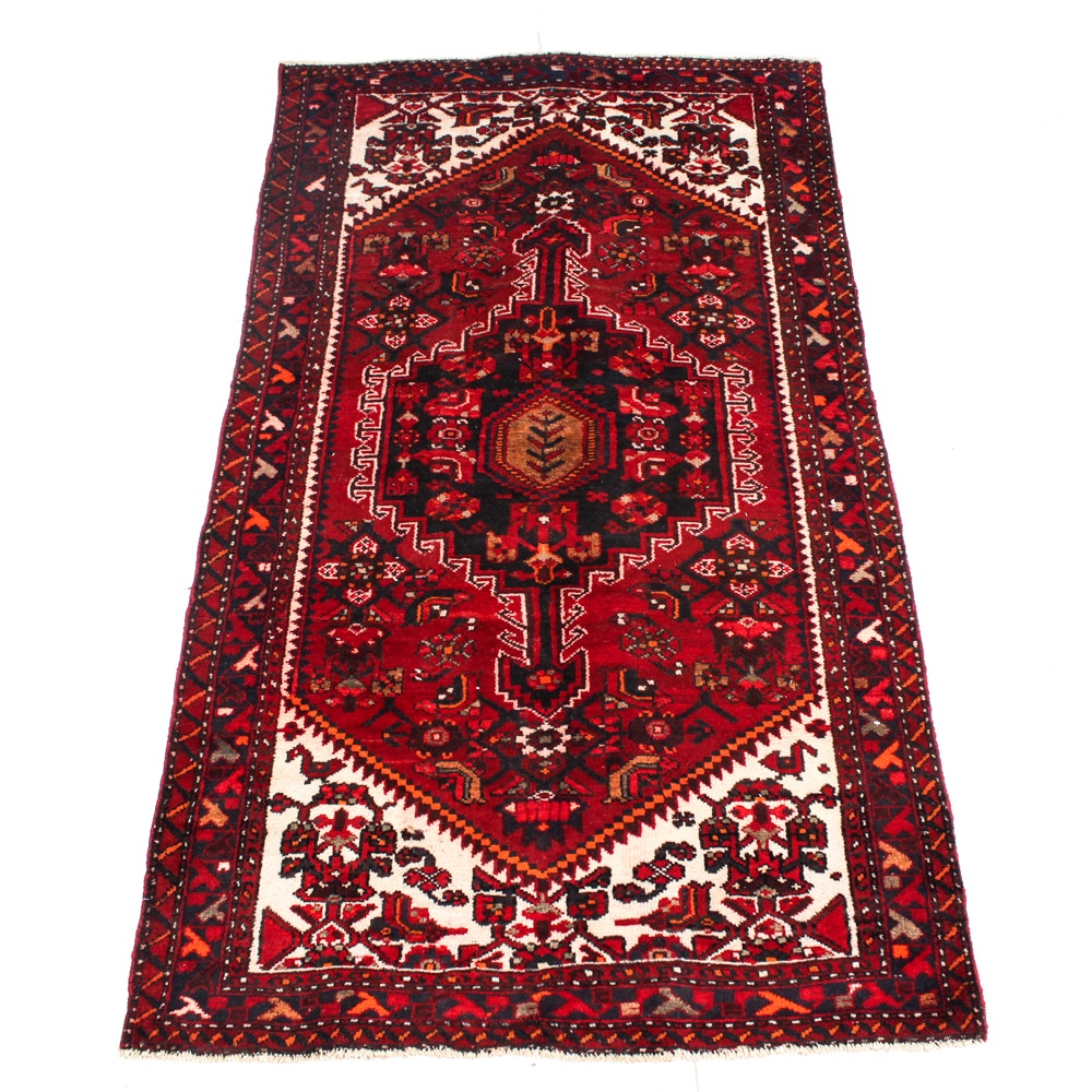 Hand-Knotted Persian Kurdish Bijar Area Rug