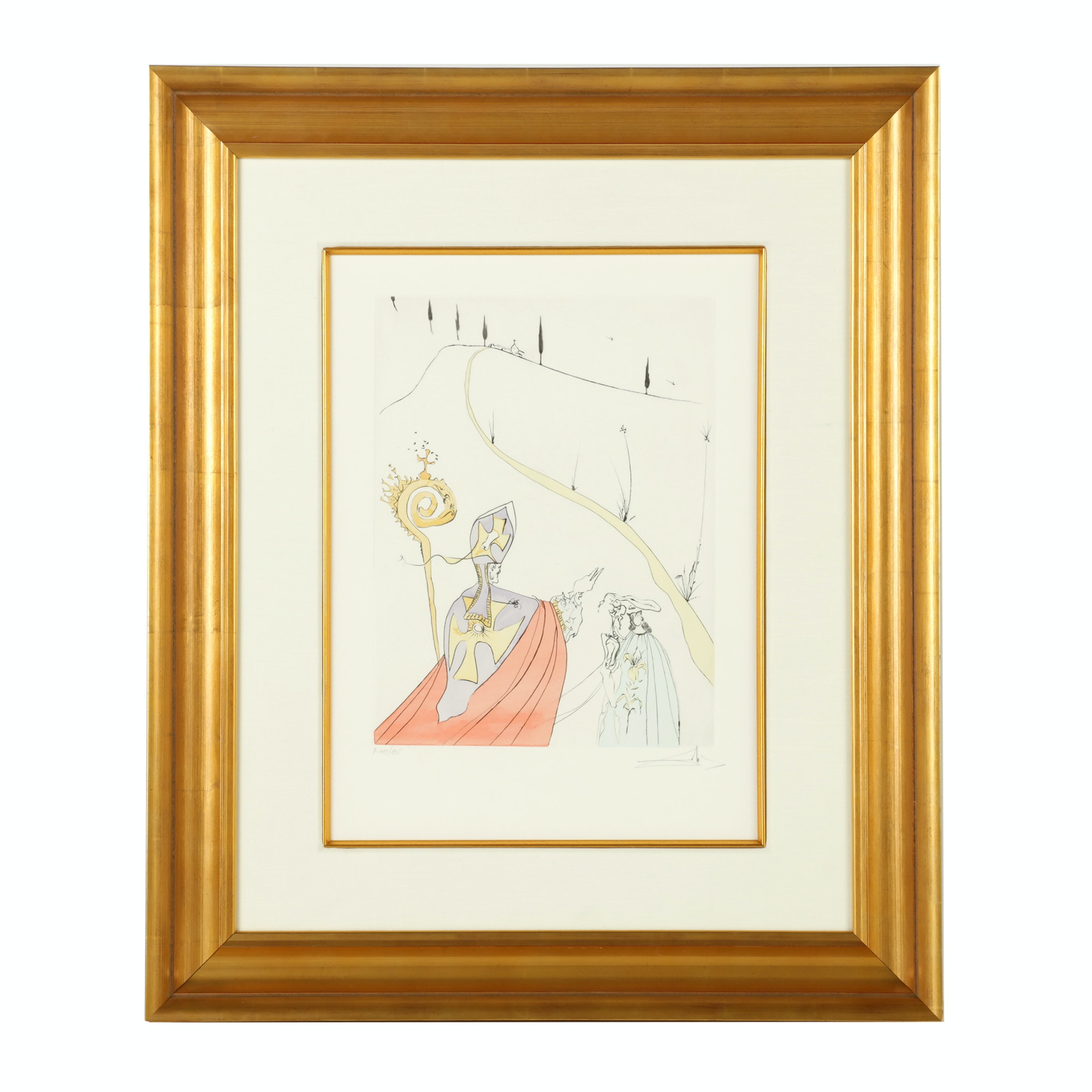 "Salvador Dali Hand Colored Etching ""The Sacred Love of Gala"""
